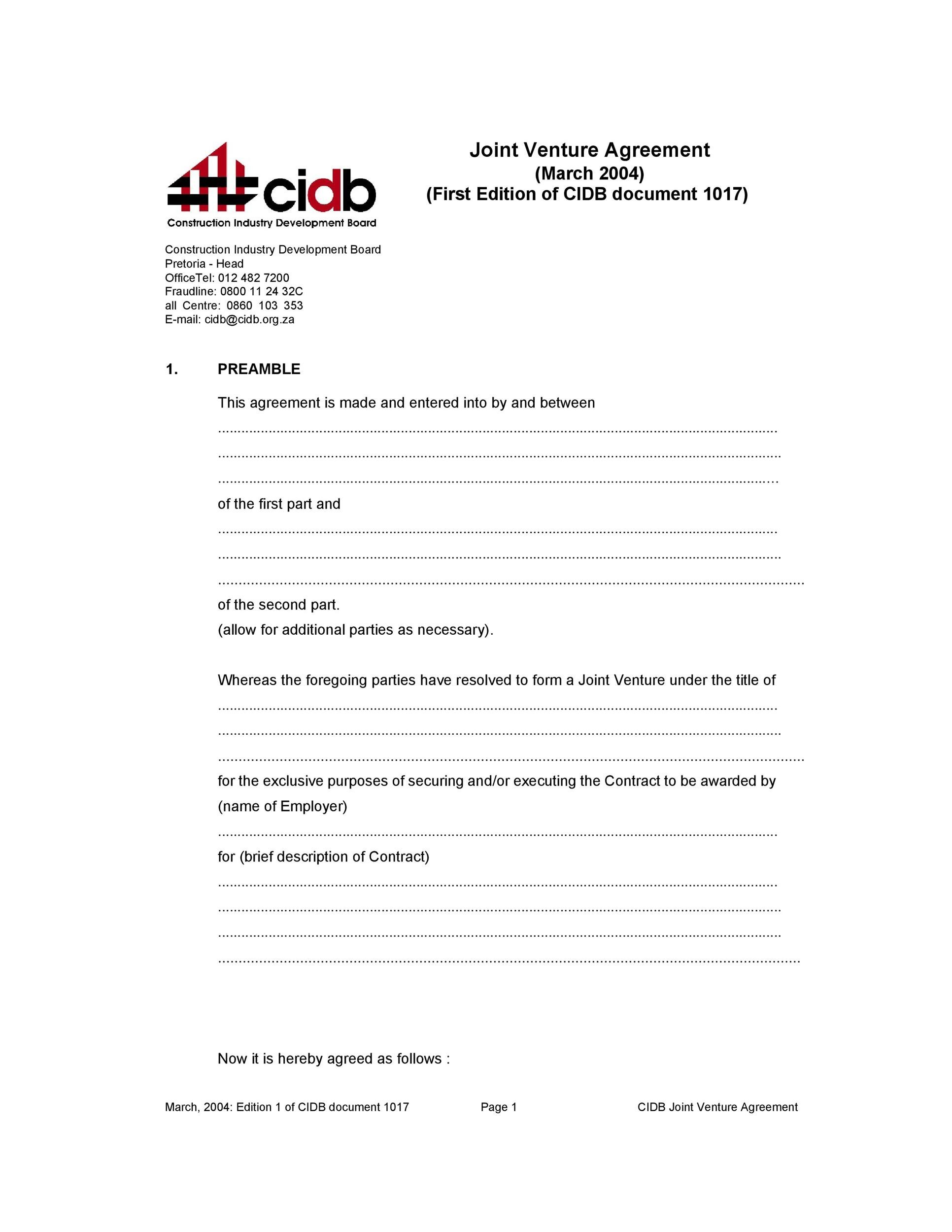 Free Joint Venture Agreement Template 10