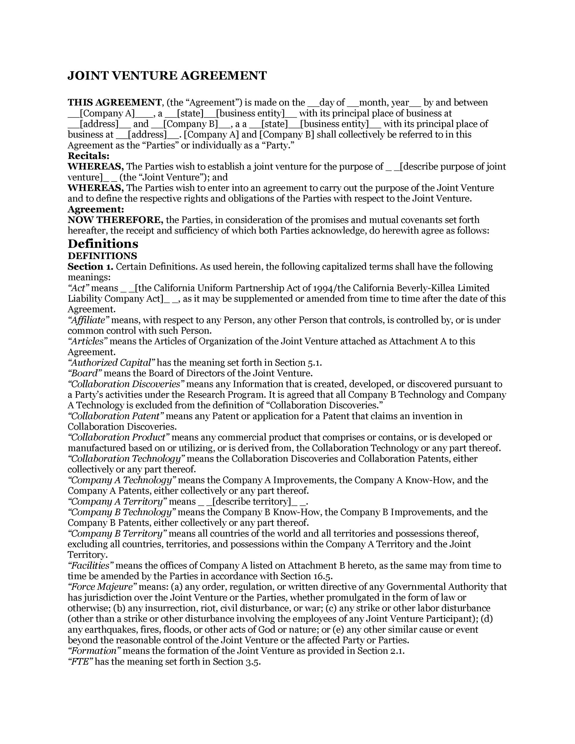 Free Joint Venture Agreement Template 11