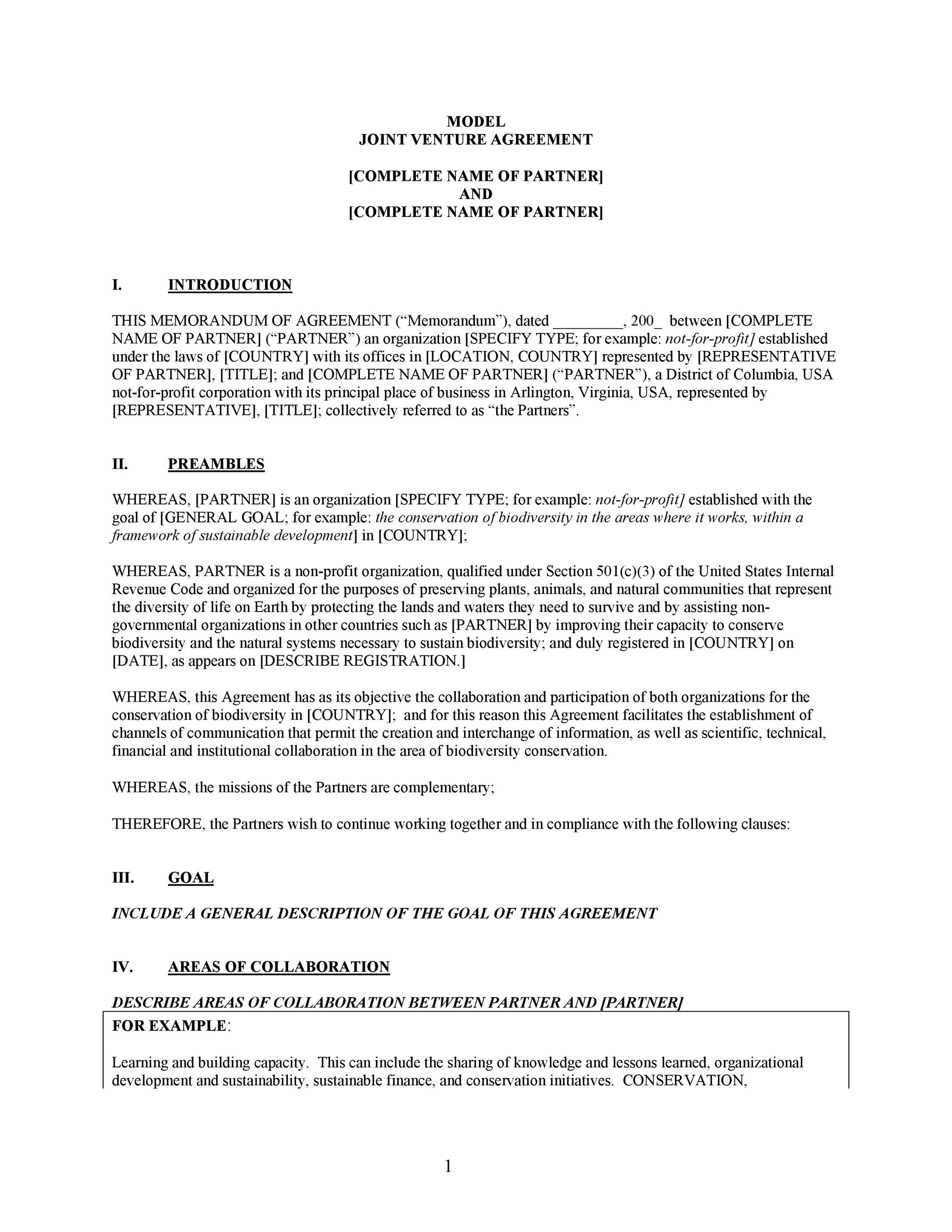 Free Joint Venture Agreement Template 12