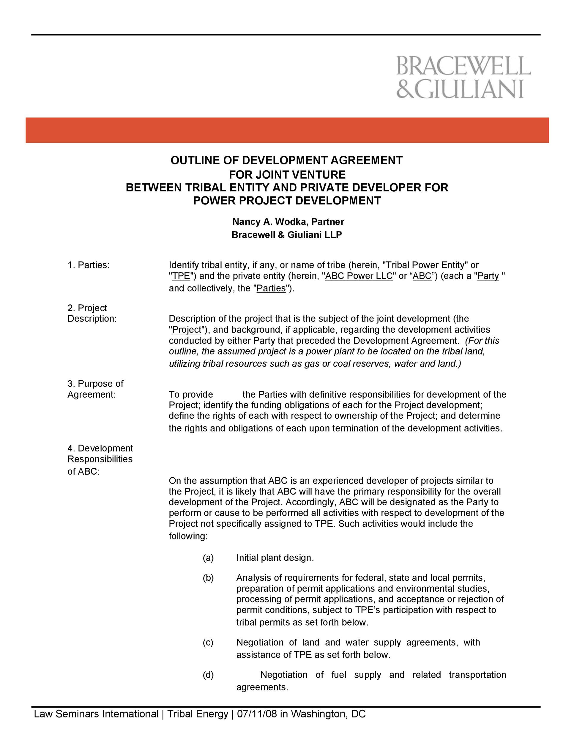 Free Joint Venture Agreement Template 14  Joint Venture Agreements Sample