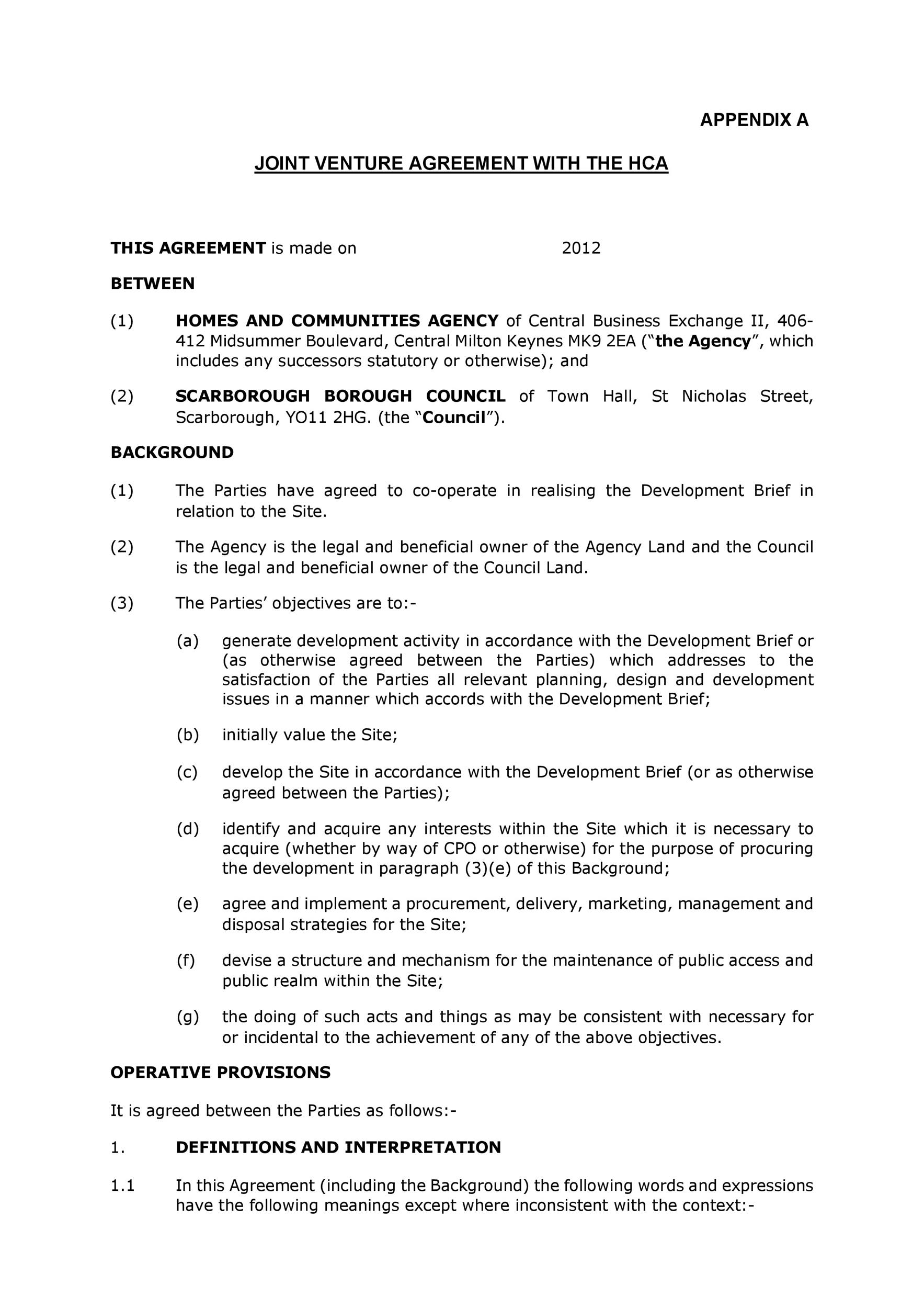 Free Joint Venture Agreement Template 17