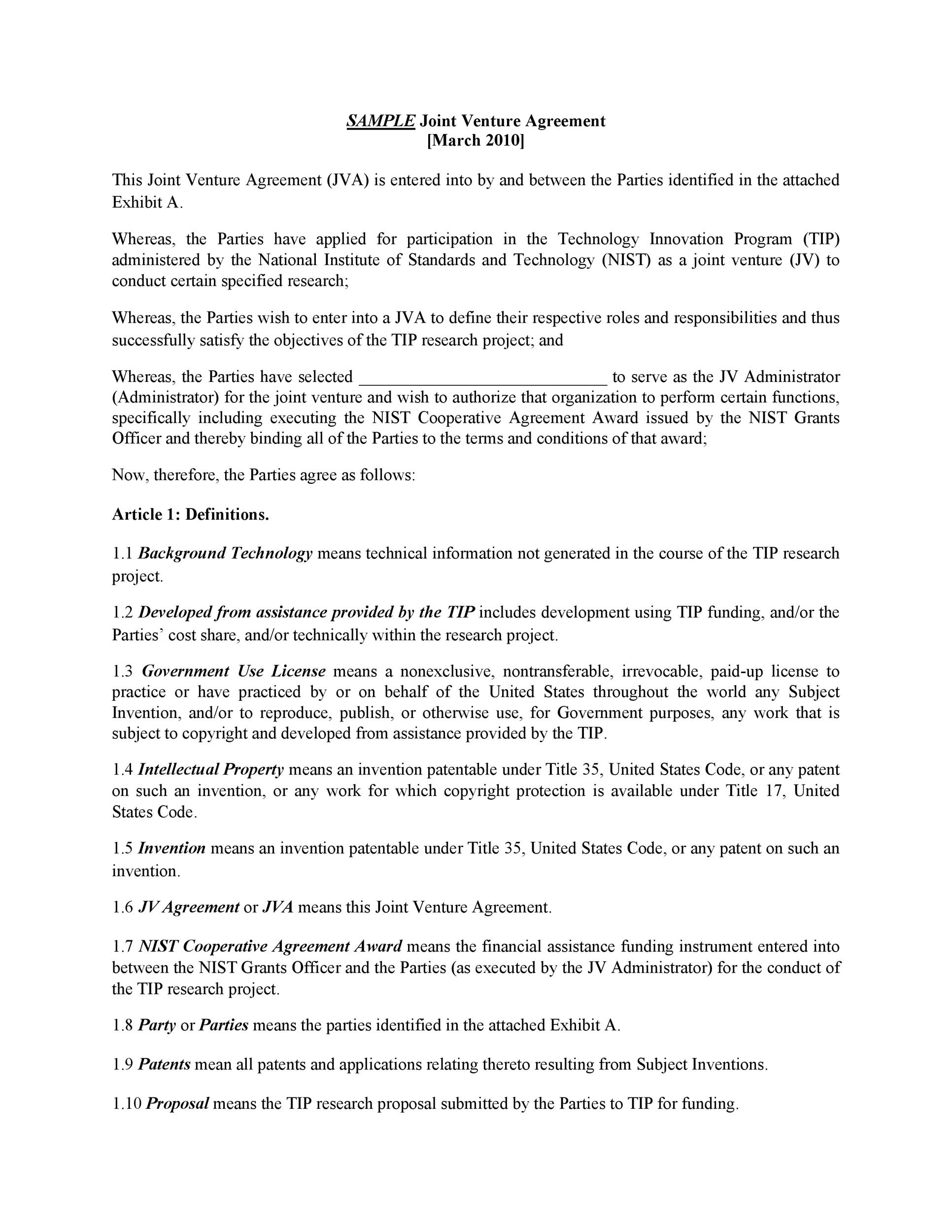 Printable Joint Venture Agreement Template 18  Joint Venture Agreements Sample