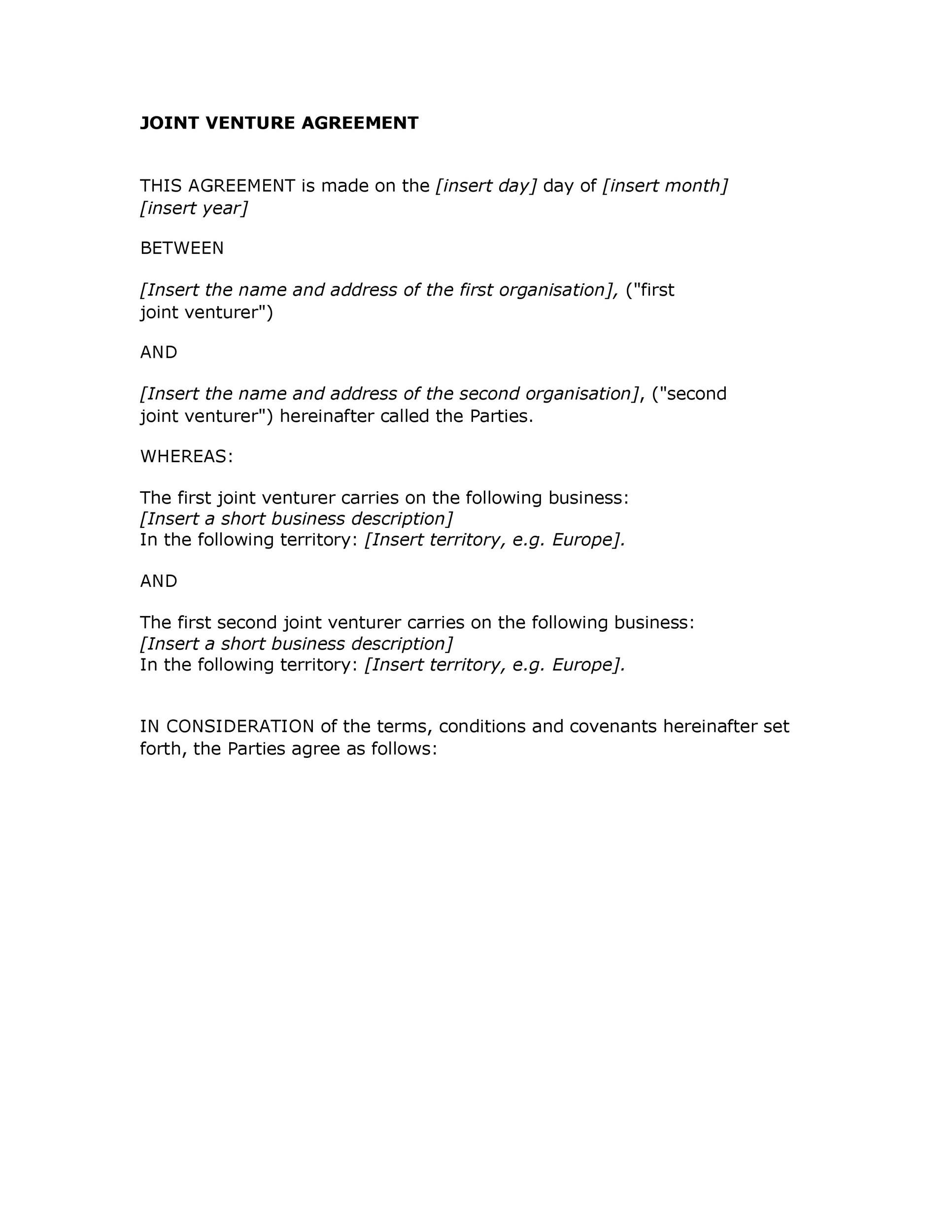 Free Joint Venture Agreement Template 21