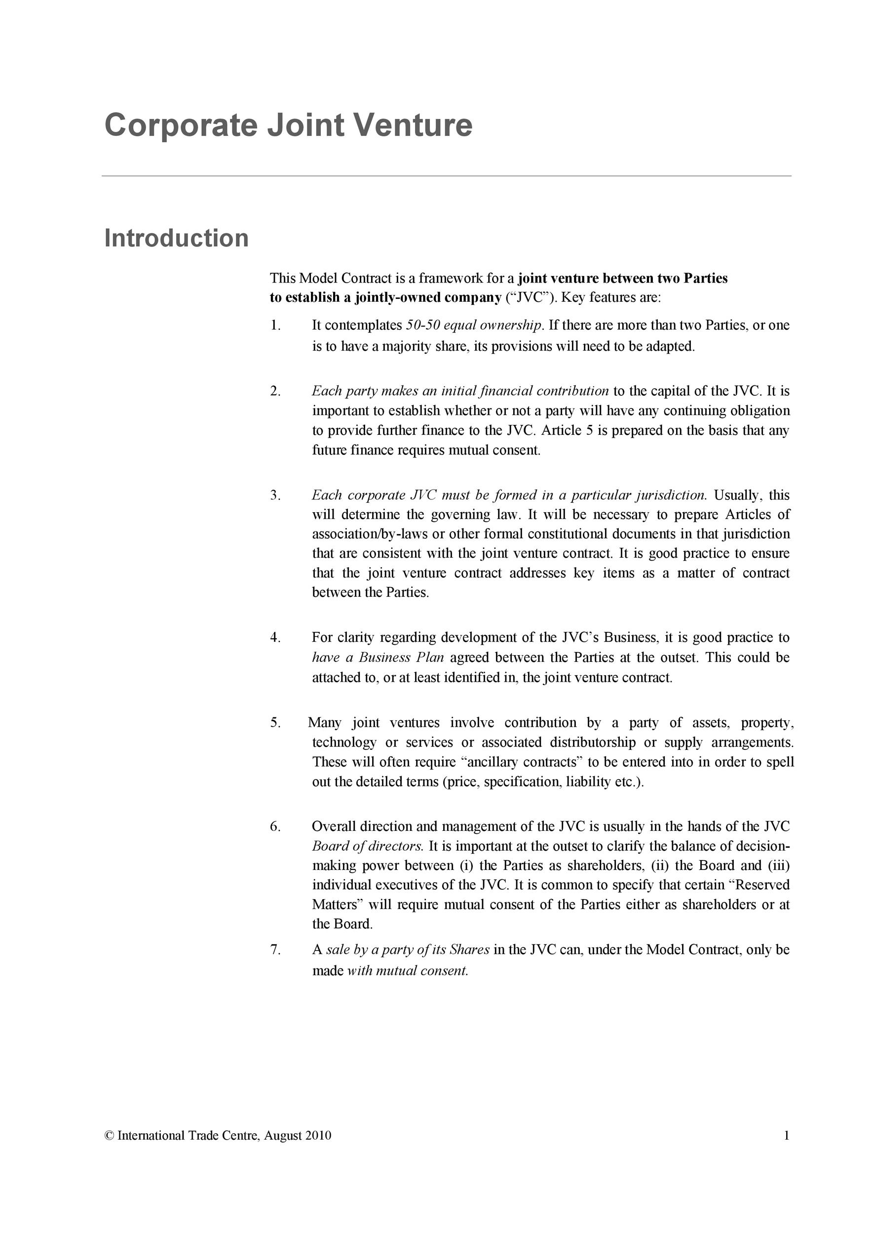 Printable Joint Venture Agreement Template 23  Agreement Contract Sample Between Two Parties