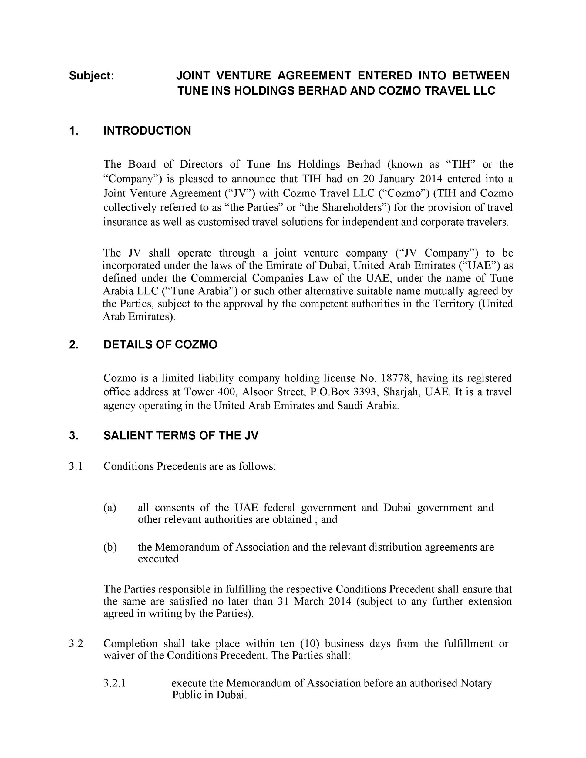 Printable Joint Venture Agreement Template 24  Joint Venture Agreement Doc