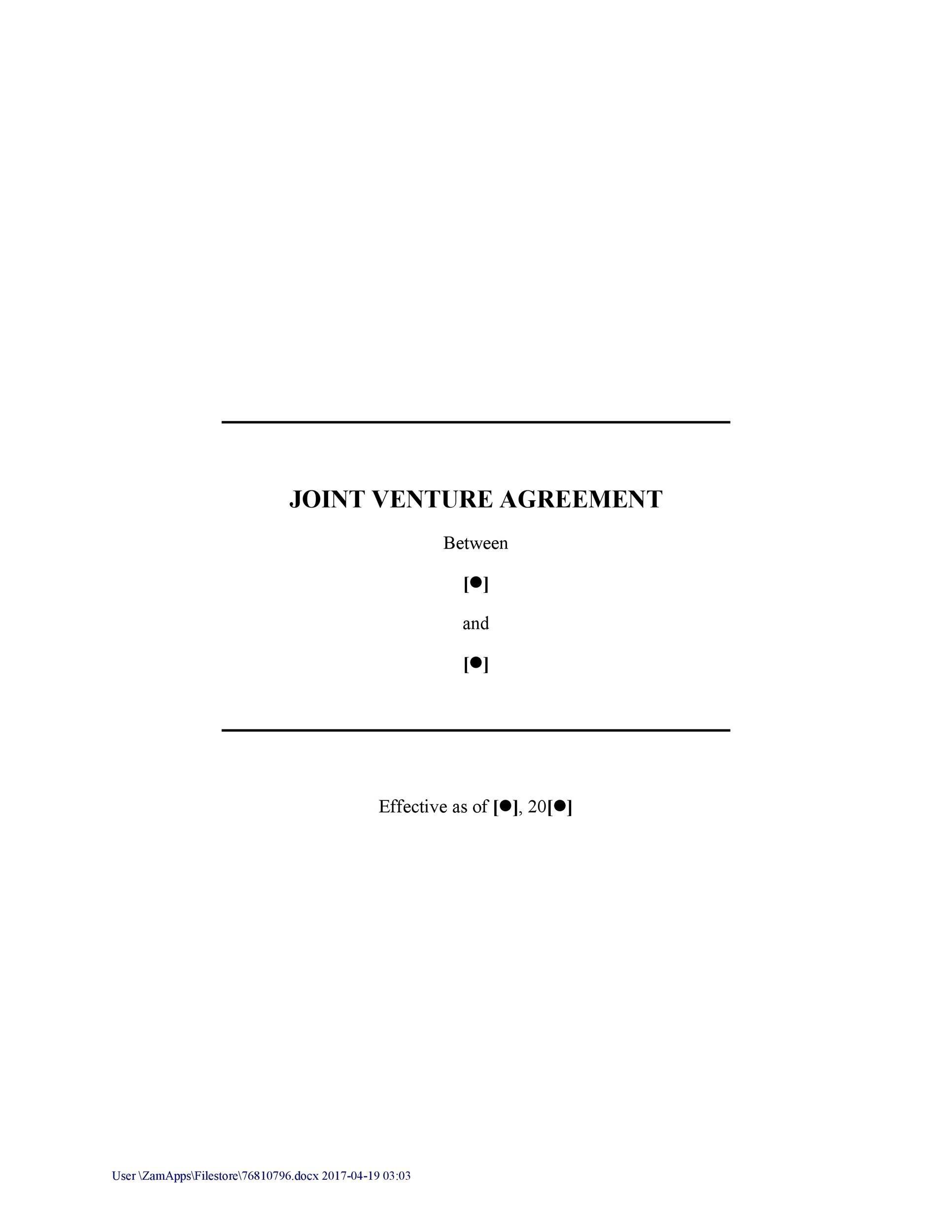 joint venture agreement sample pdf