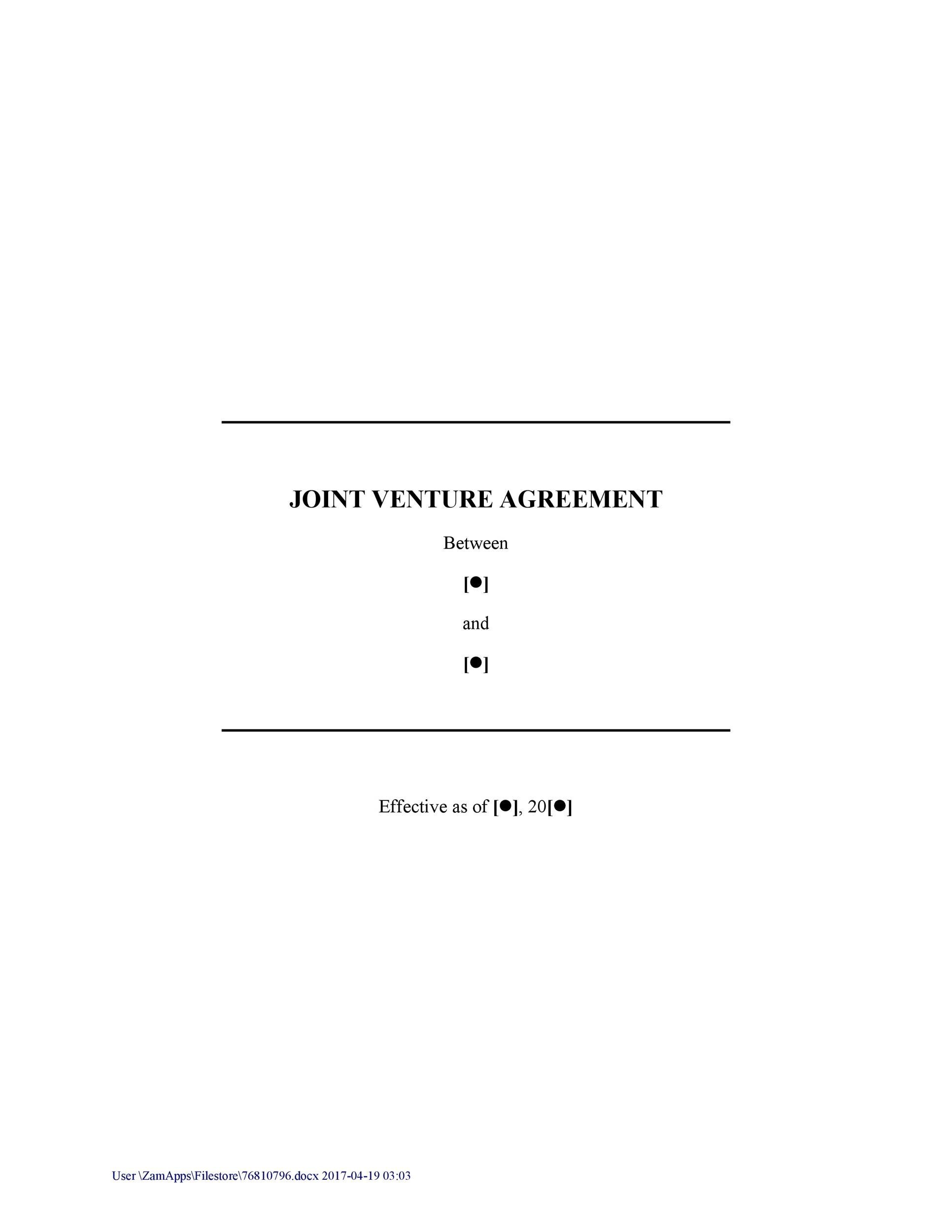 Free Joint Venture Agreement Template 26