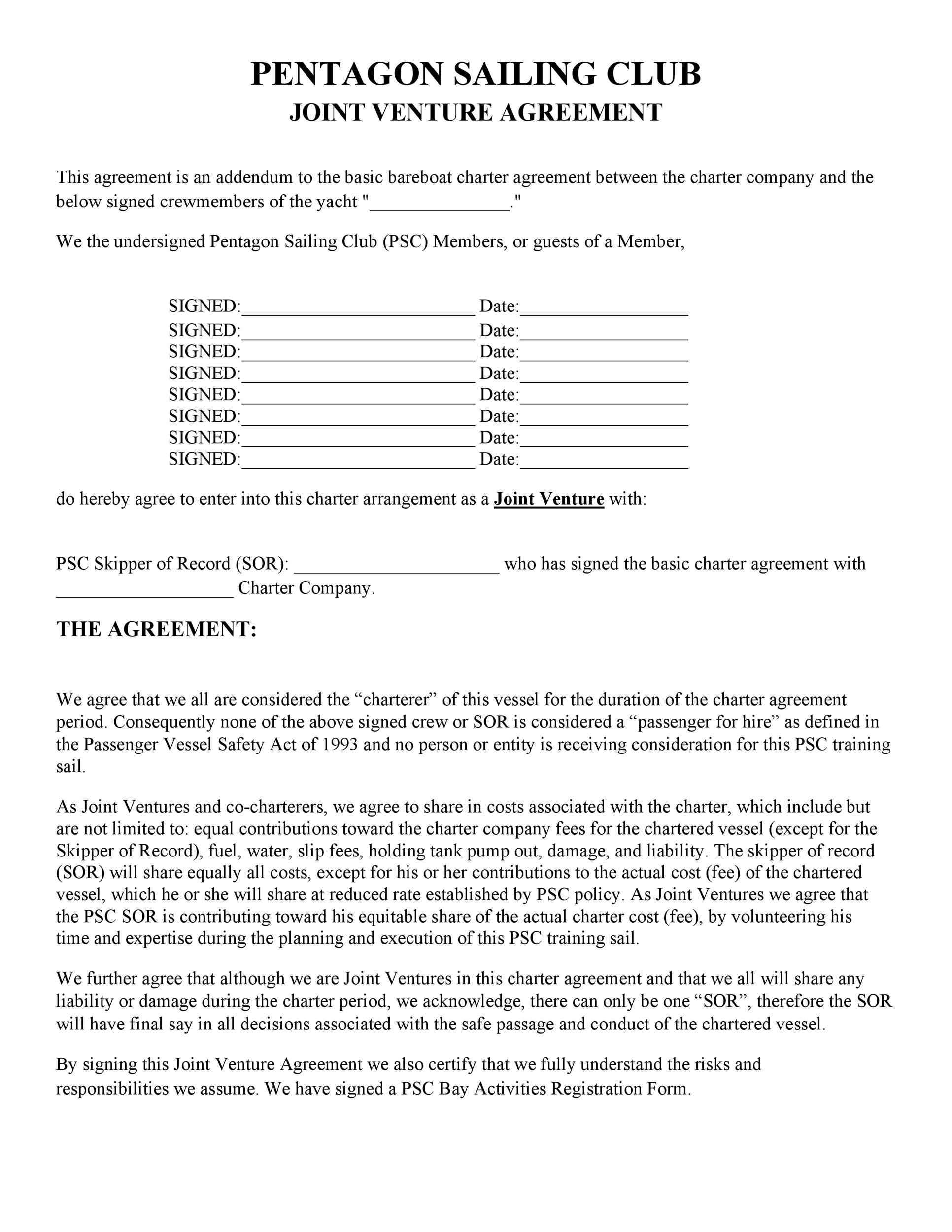Printable Joint Venture Agreement Template 28  Joint Venture Agreement Doc