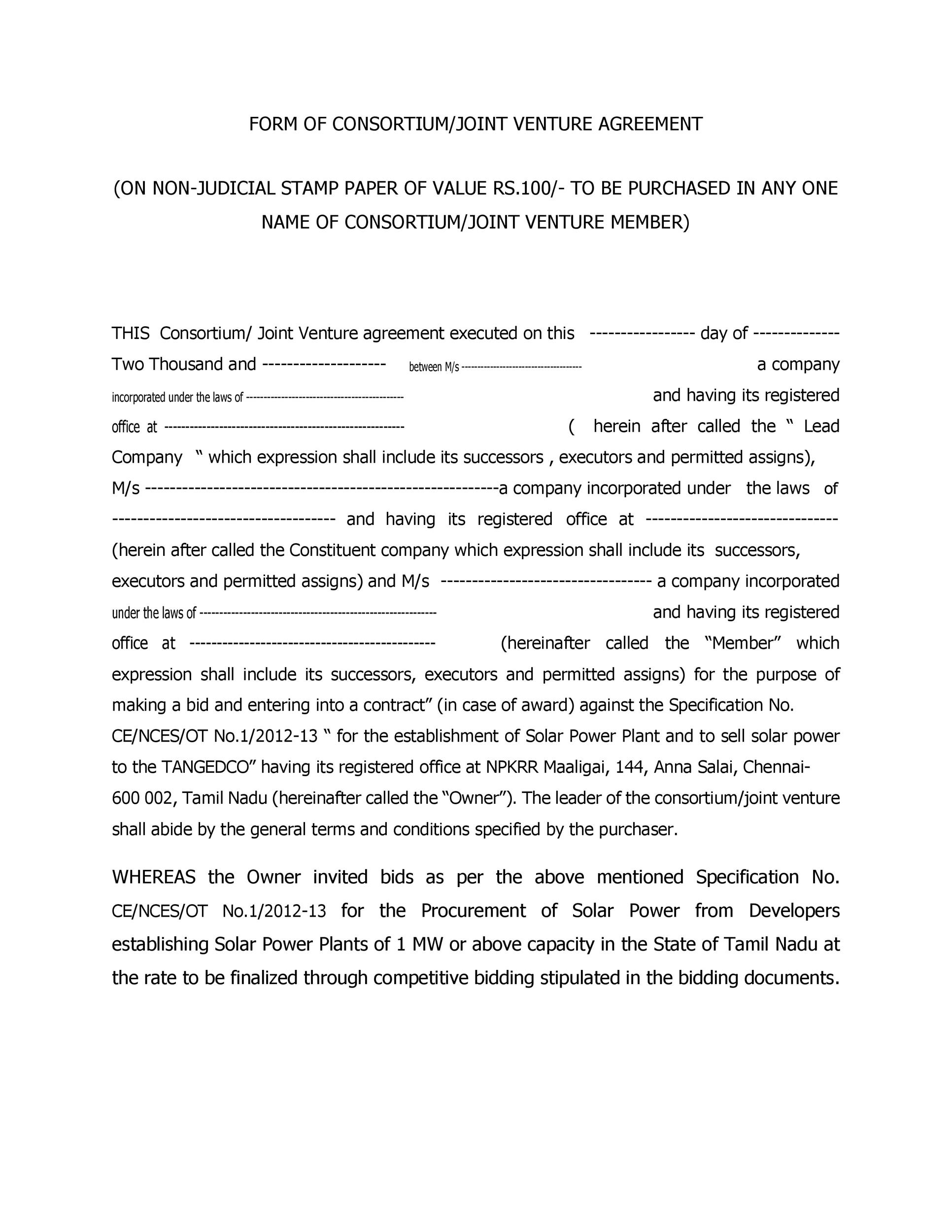 Free Joint Venture Agreement Template 29