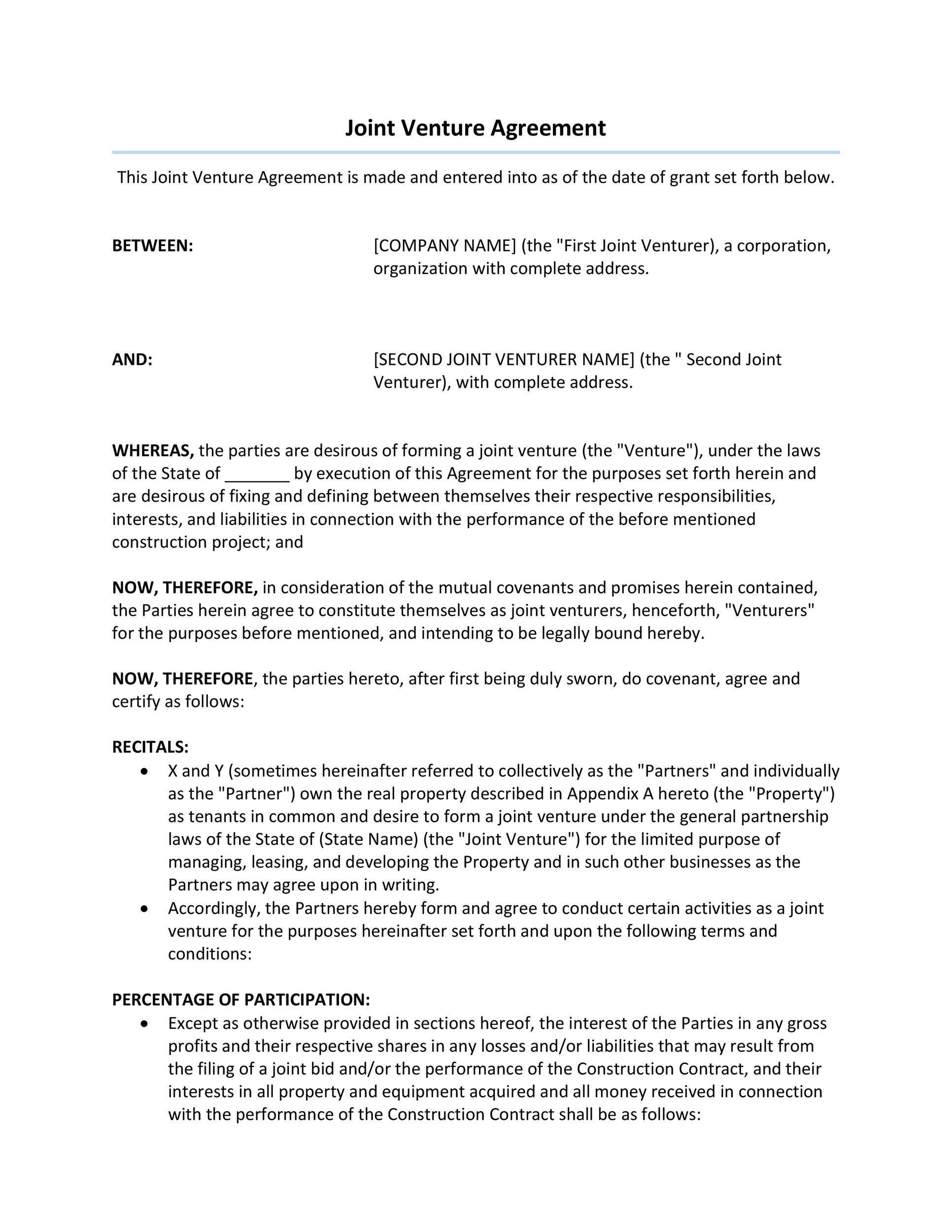 Printable Joint Venture Agreement Template 30  Project Contract Template