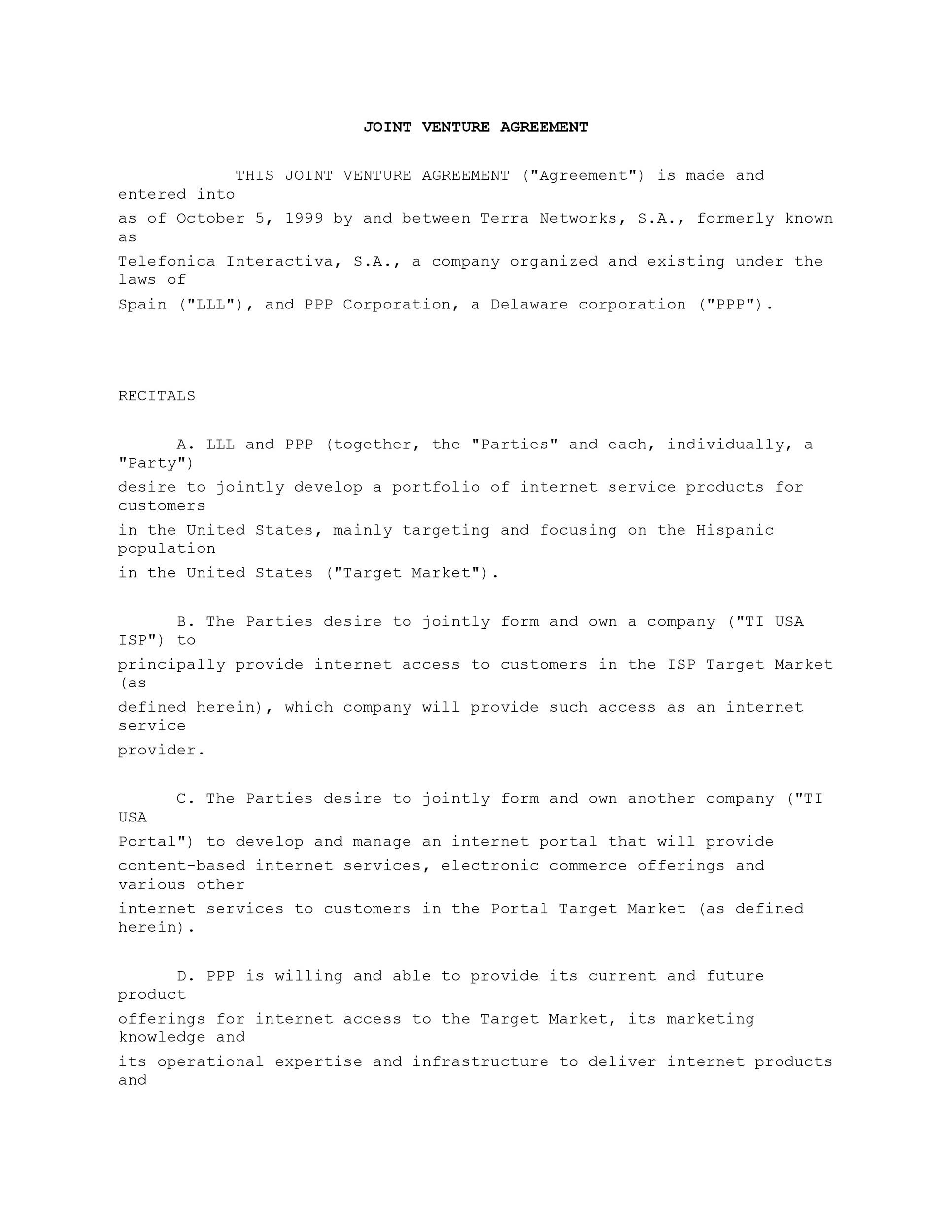 Free Joint Venture Agreement Template 31