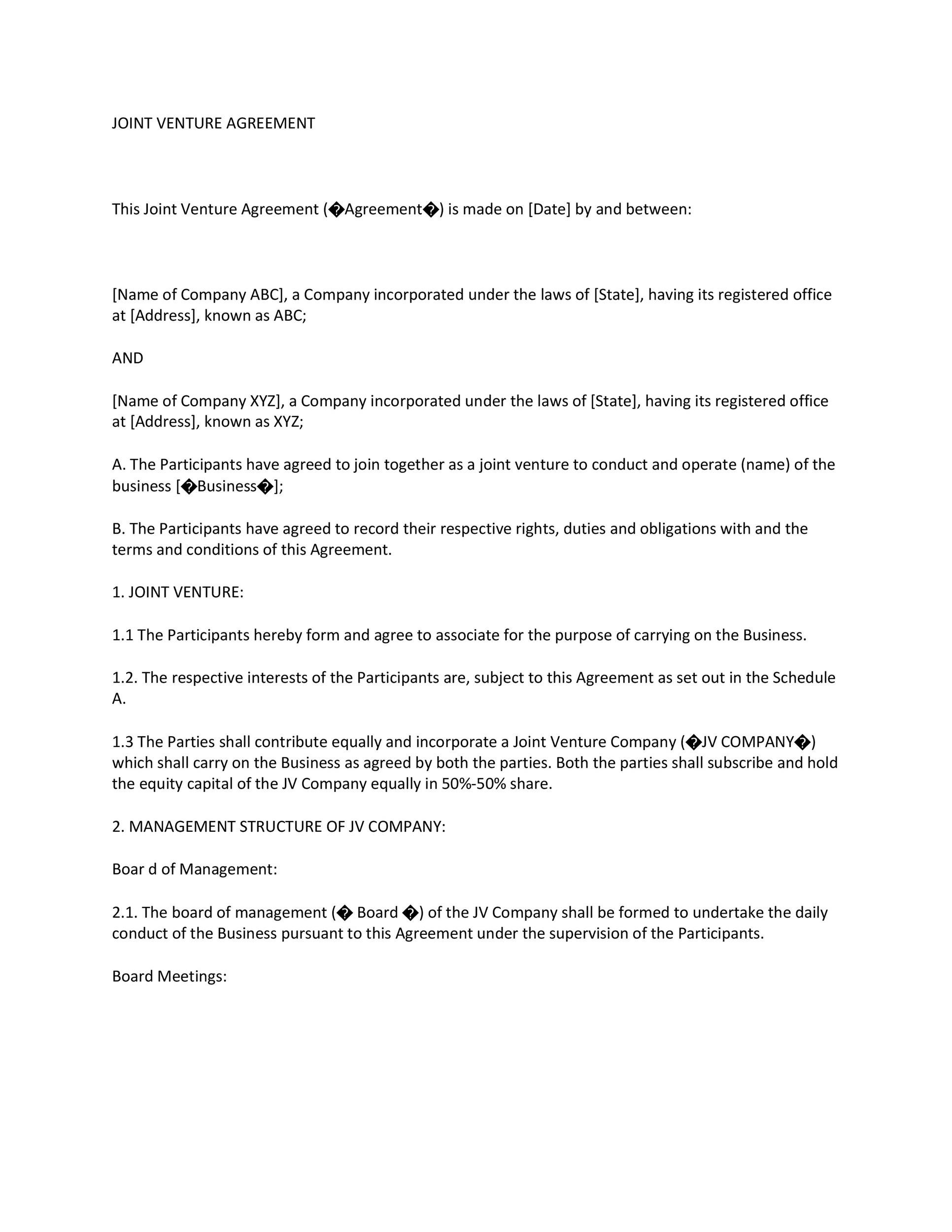 Free Joint Venture Agreement Template 32