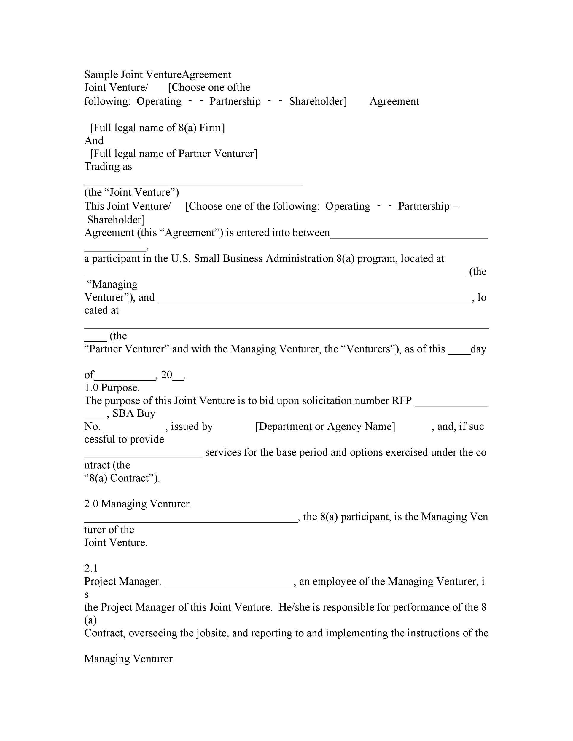 Printable Joint Venture Agreement Template 33  Project Contract Template