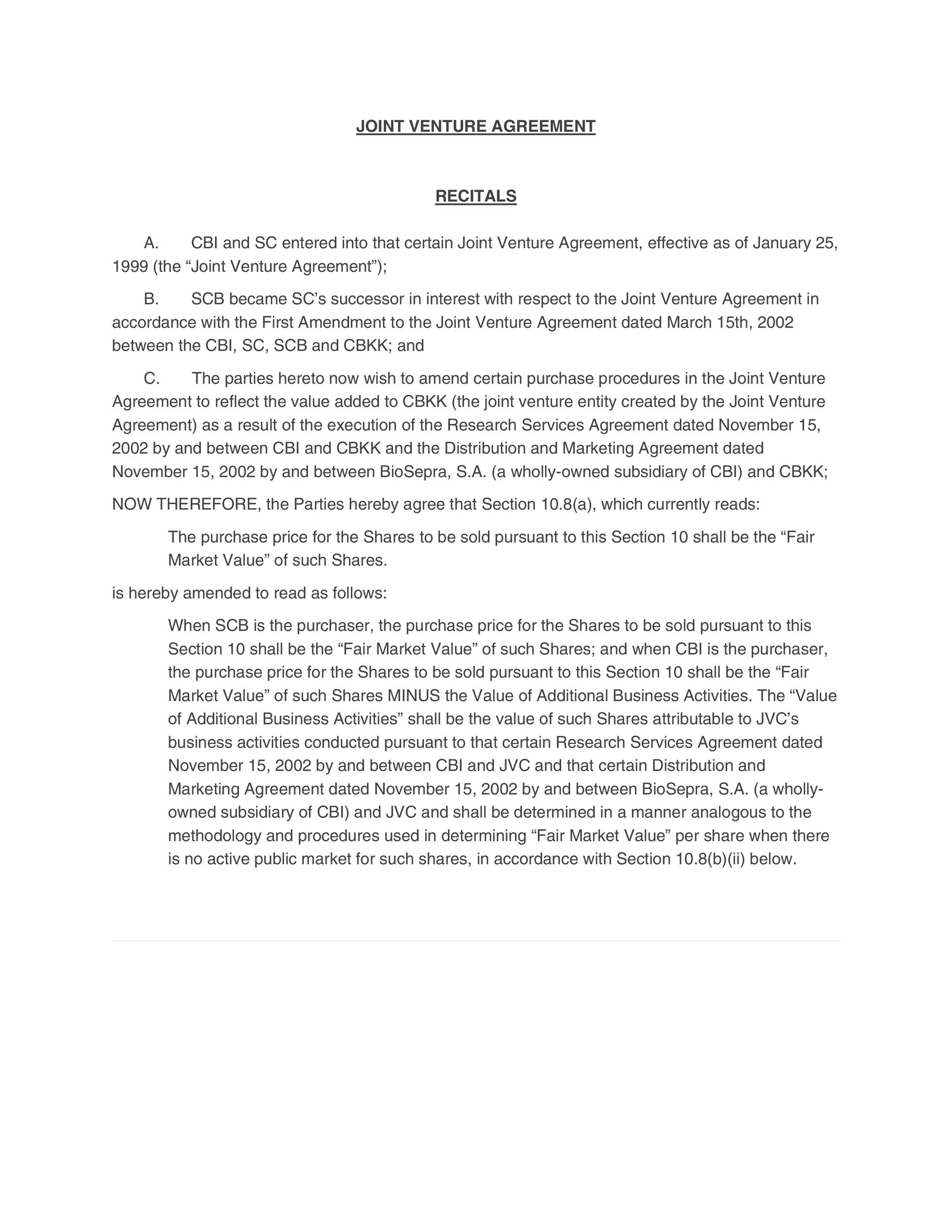 Free Joint Venture Agreement Template 34