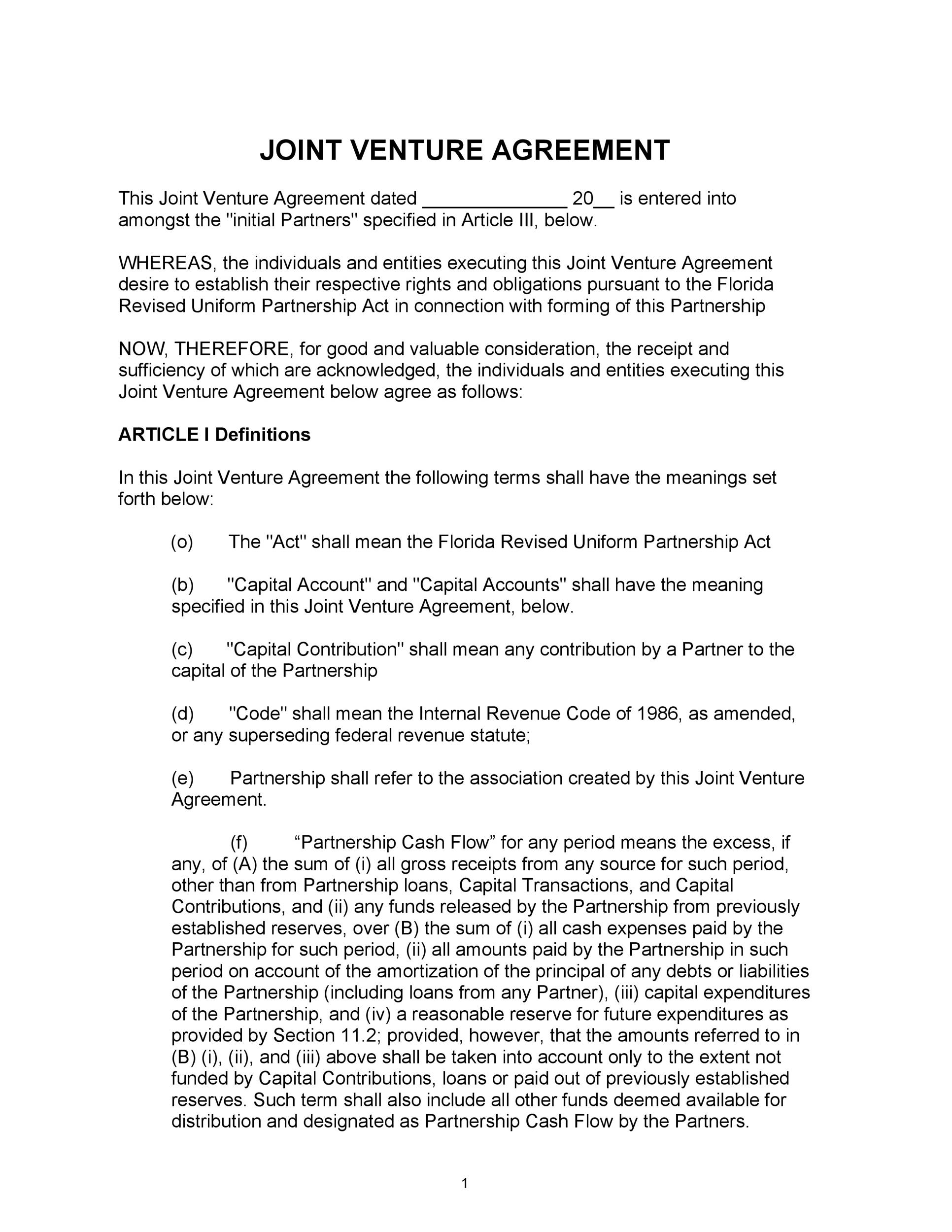 Free Joint Venture Agreement Template 37