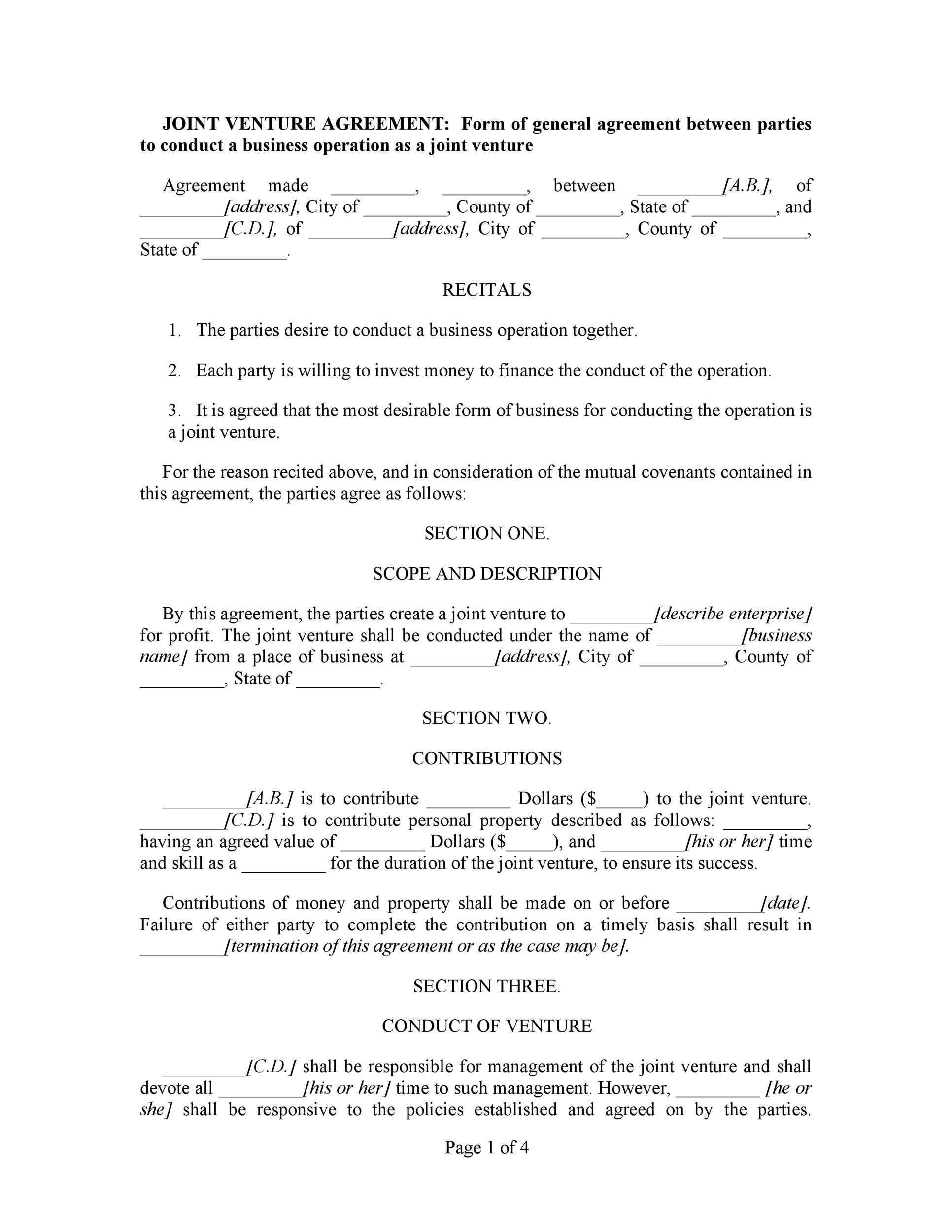 Free Joint Venture Agreement Template 38