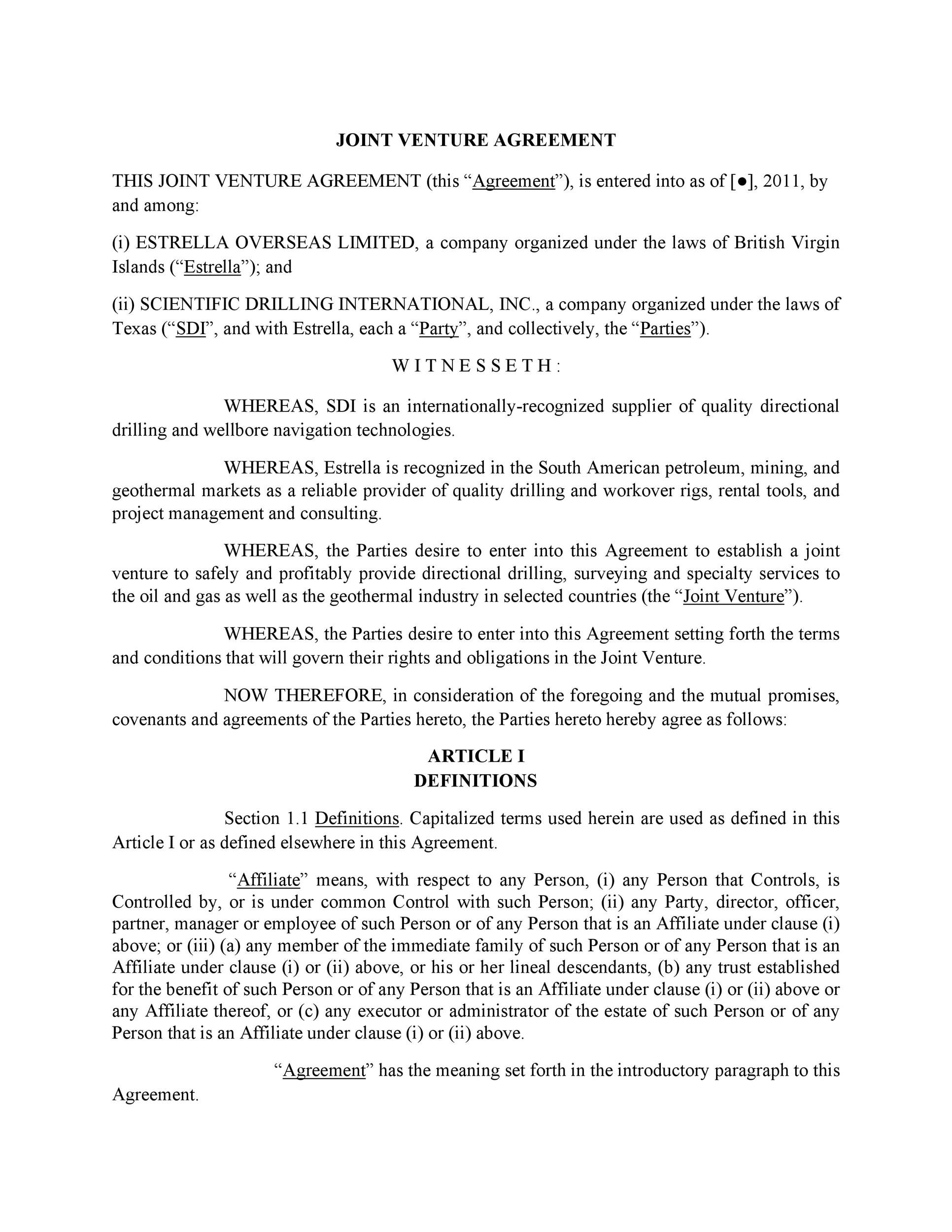 Free Joint Venture Agreement Template 43