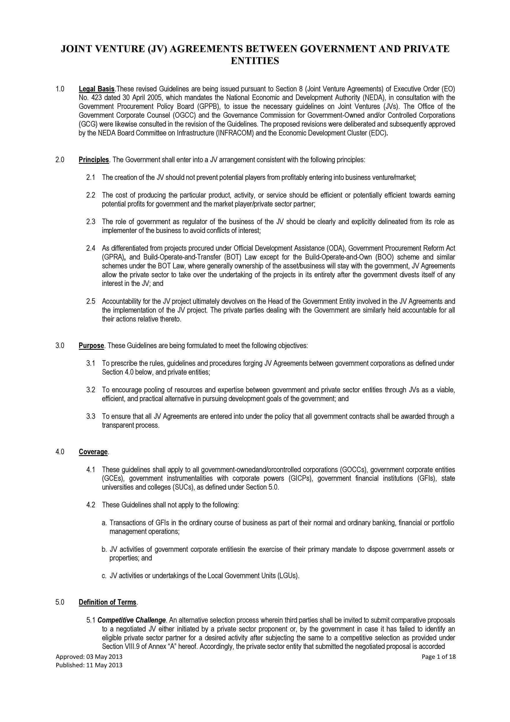 Free Joint Venture Agreement Template 44