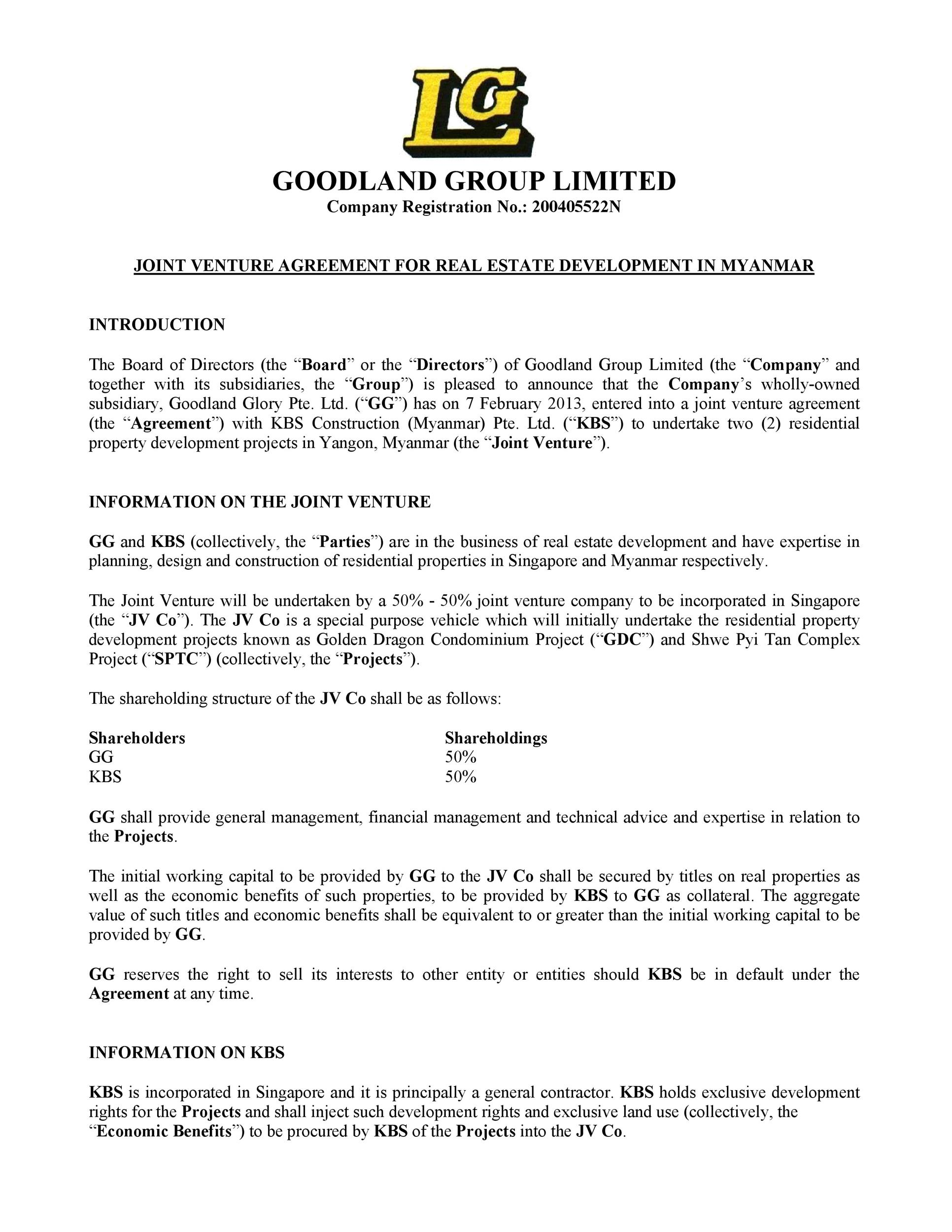 Free Joint Venture Agreement Template 46