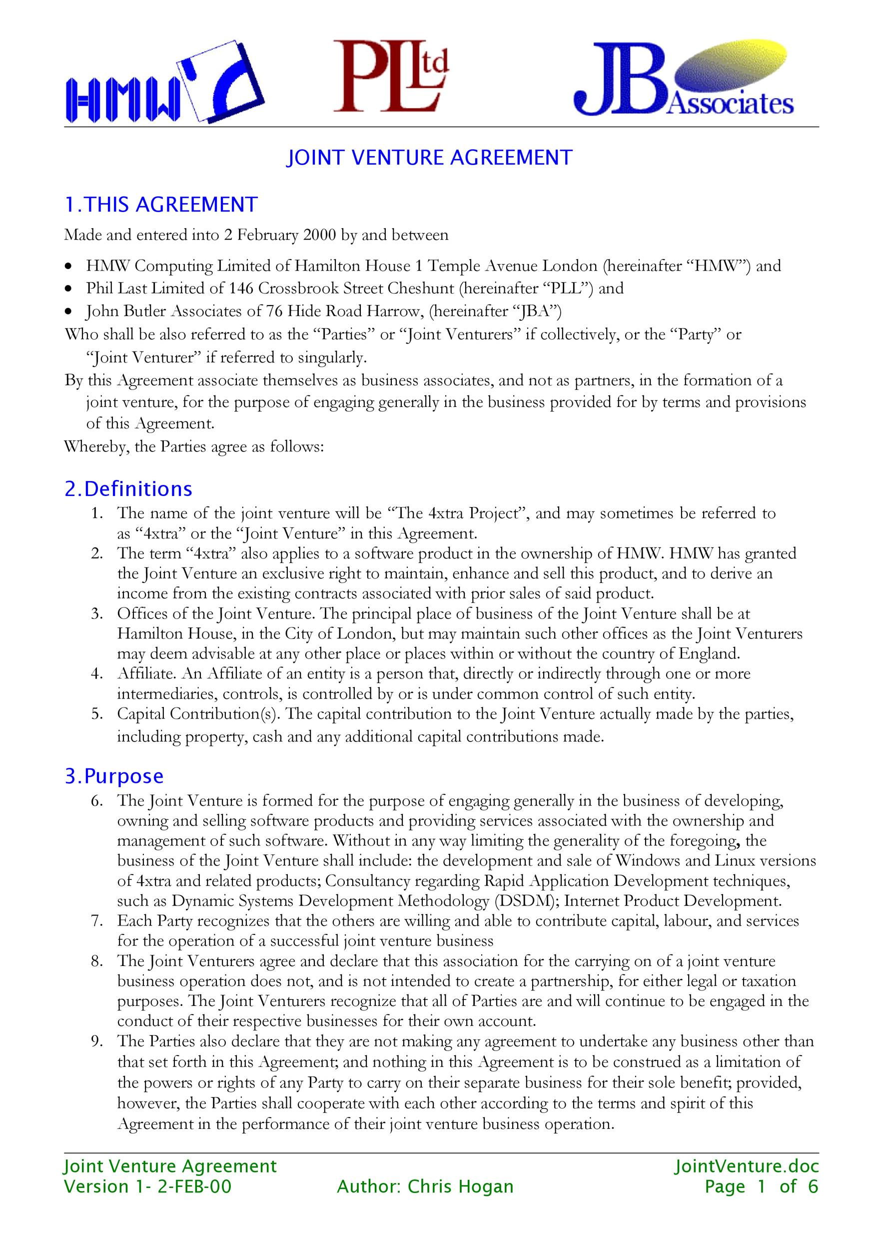 Free Joint Venture Agreement Template 48  Free Joint Venture Agreement Template
