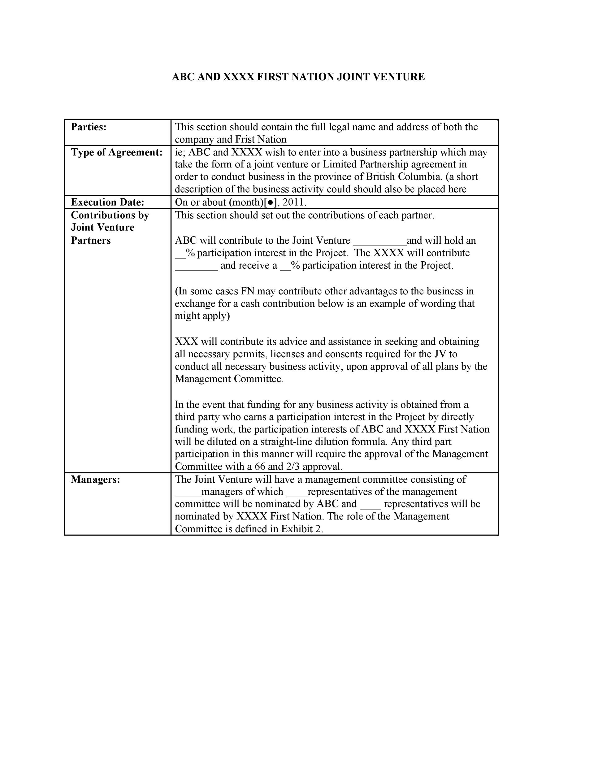 Free Joint Venture Agreement Template 49