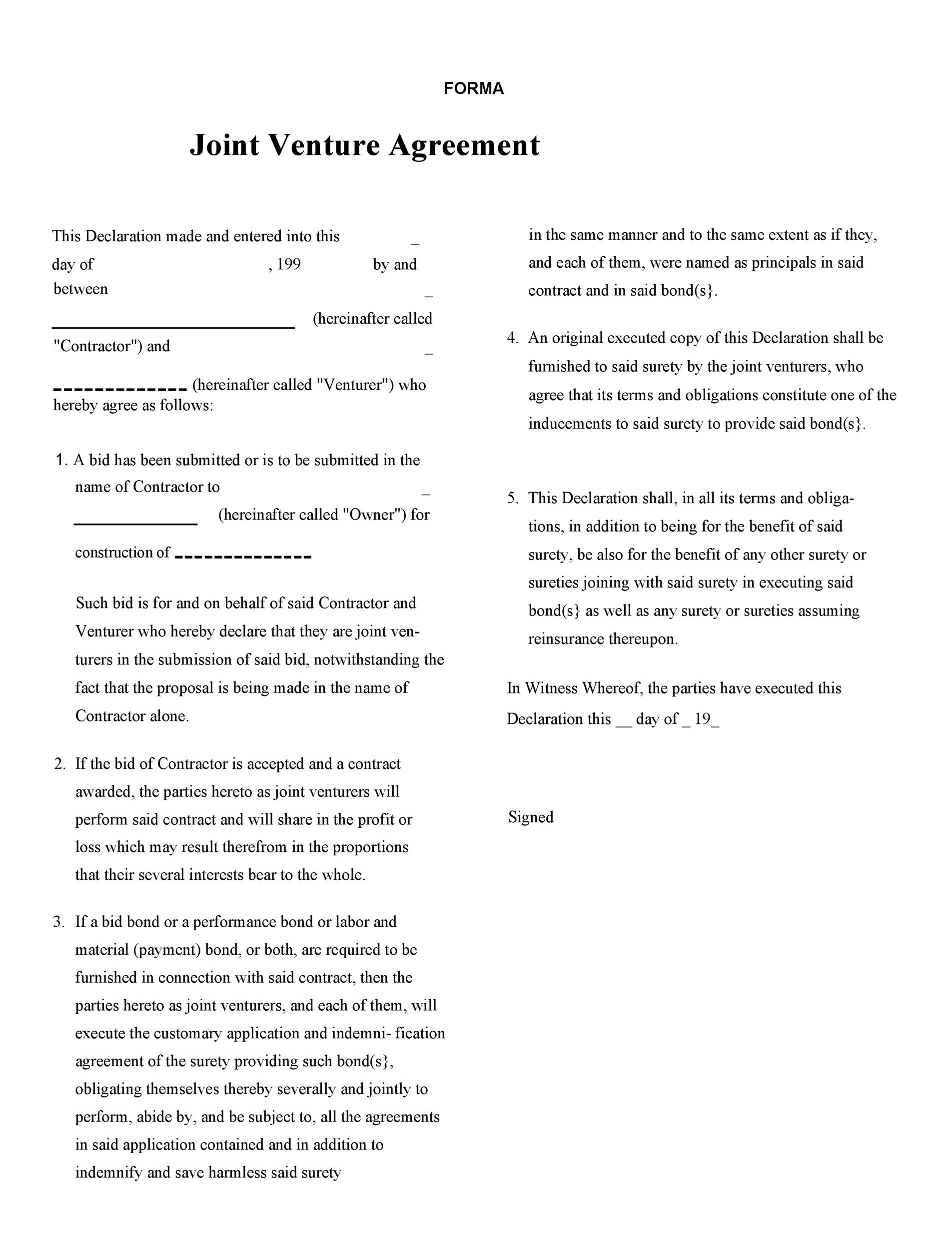 Free Joint Venture Agreement Template 50