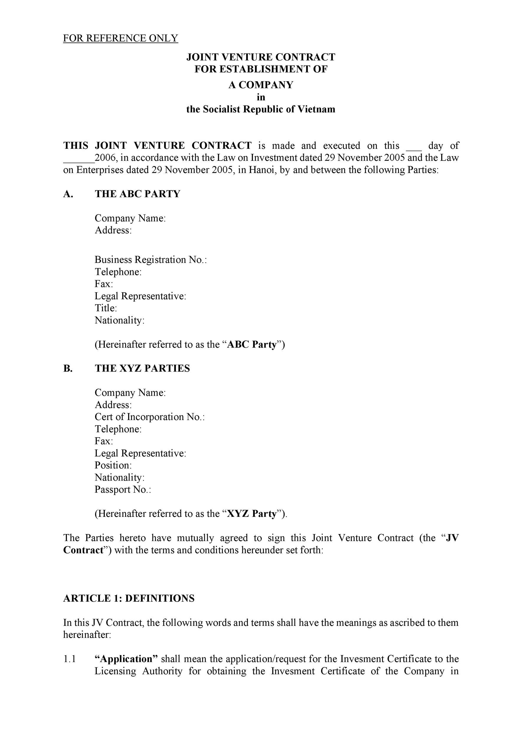 Free Joint Venture Agreement Template 51