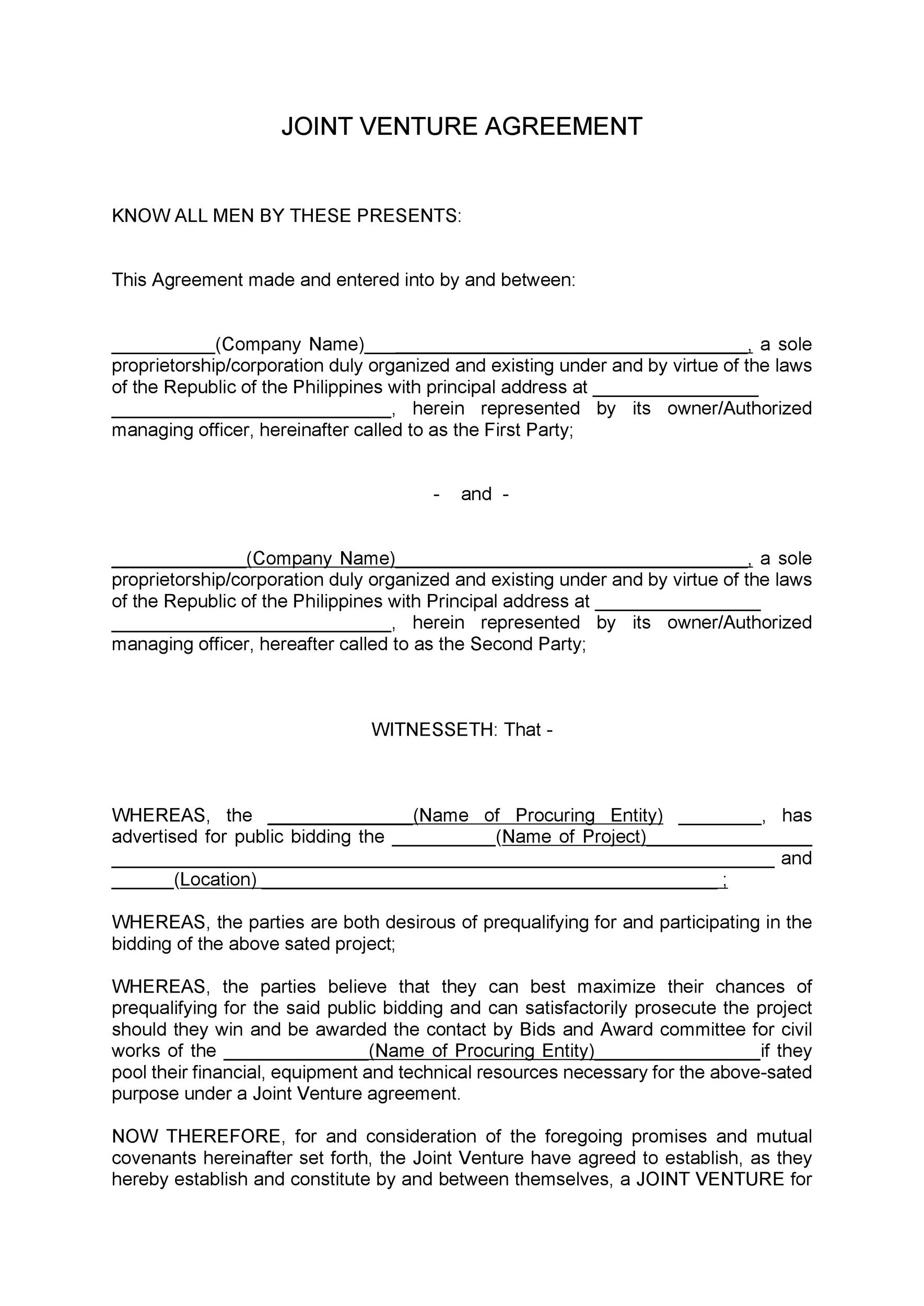 Free Joint Venture Agreement Template 52