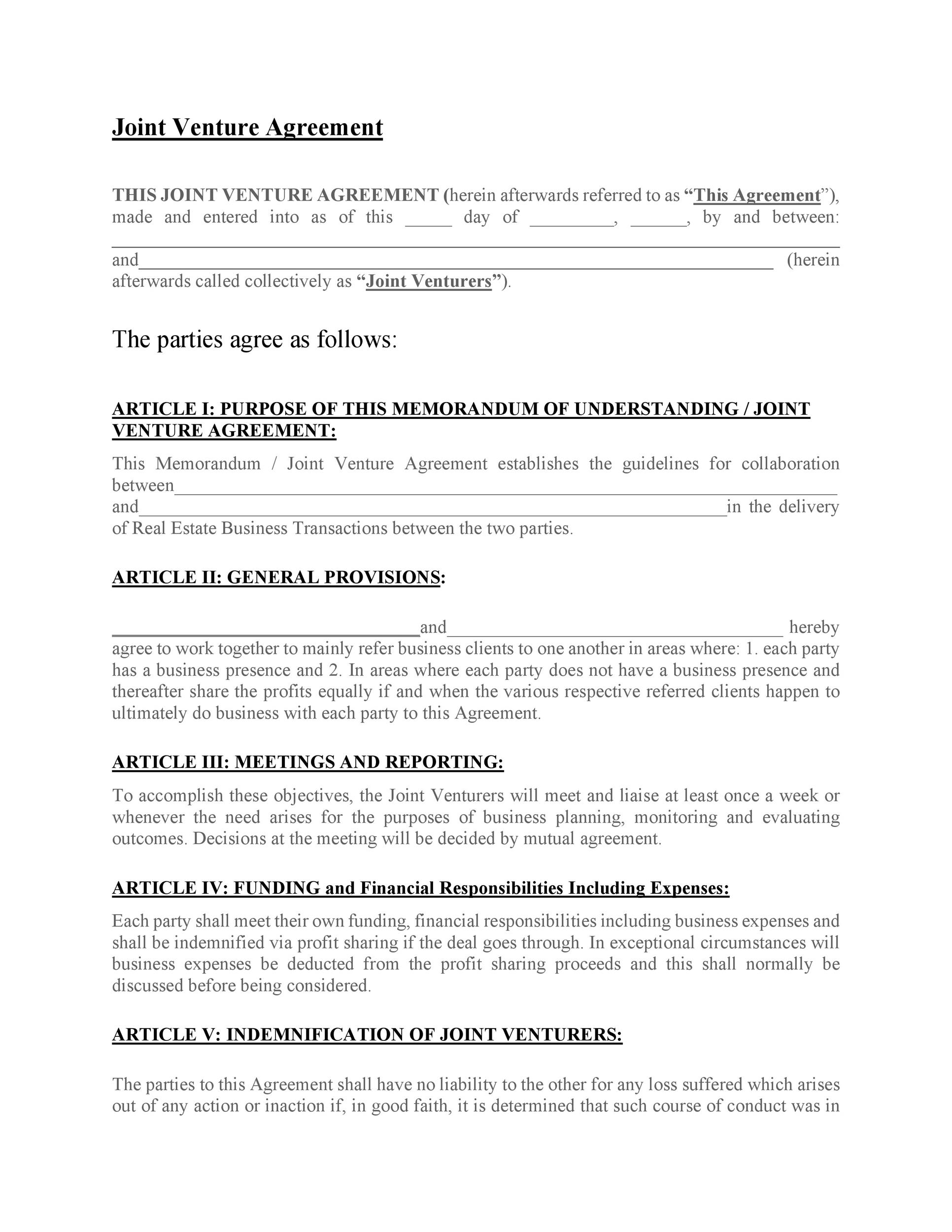 Free Joint Venture Agreement Template 53