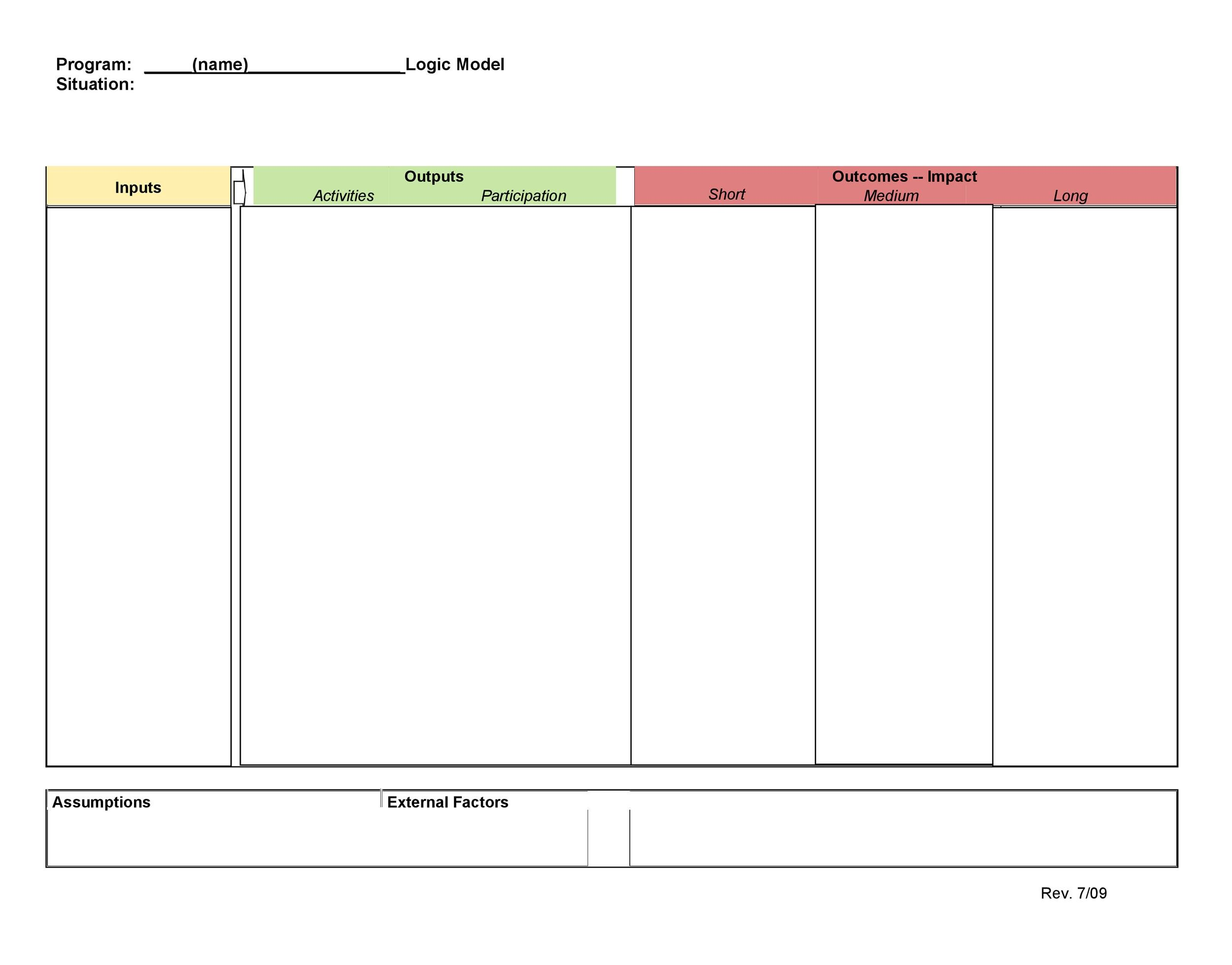 More than 40 logic model templates examples template lab for Logic model template microsoft word