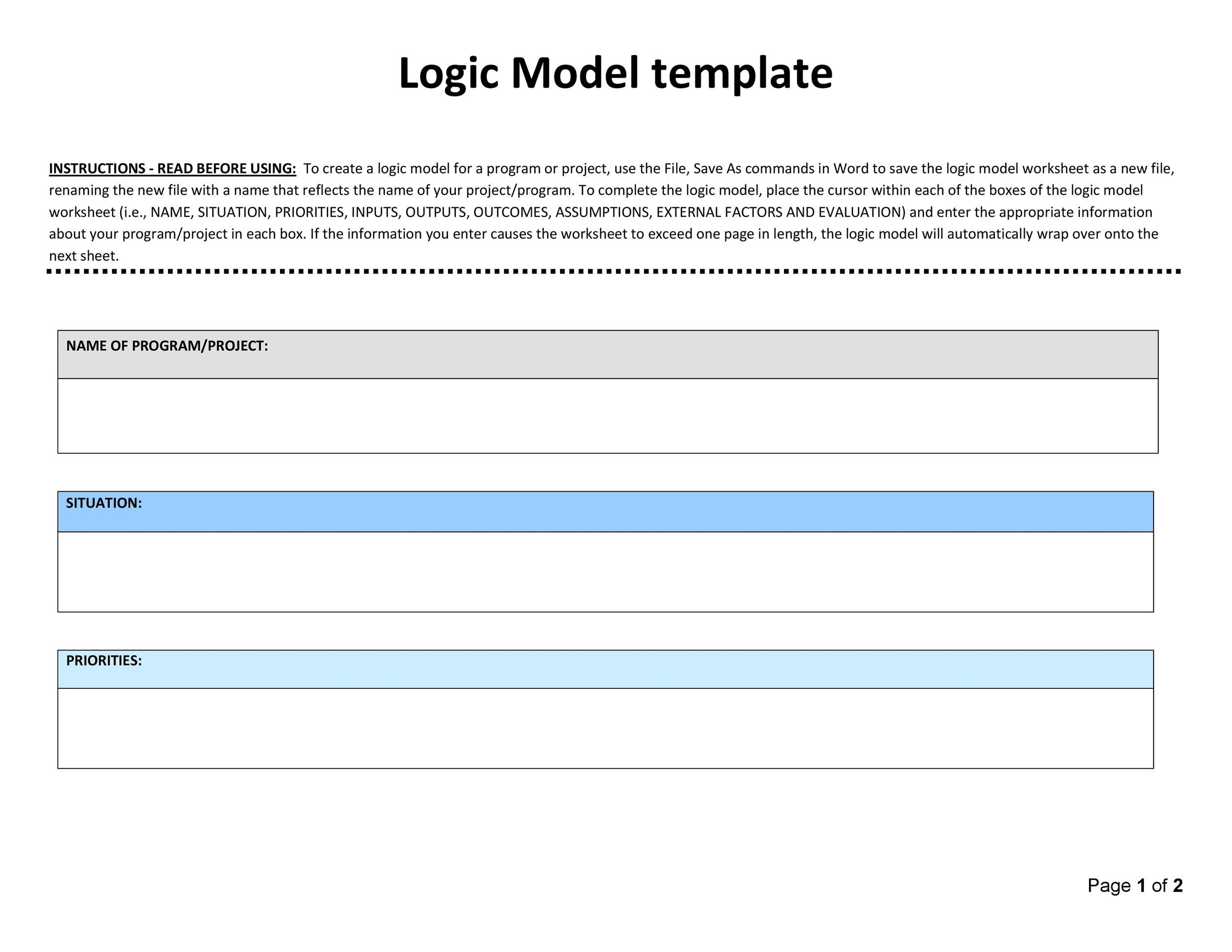 11 logic model templates word excel pdf templates for Logic model template microsoft word