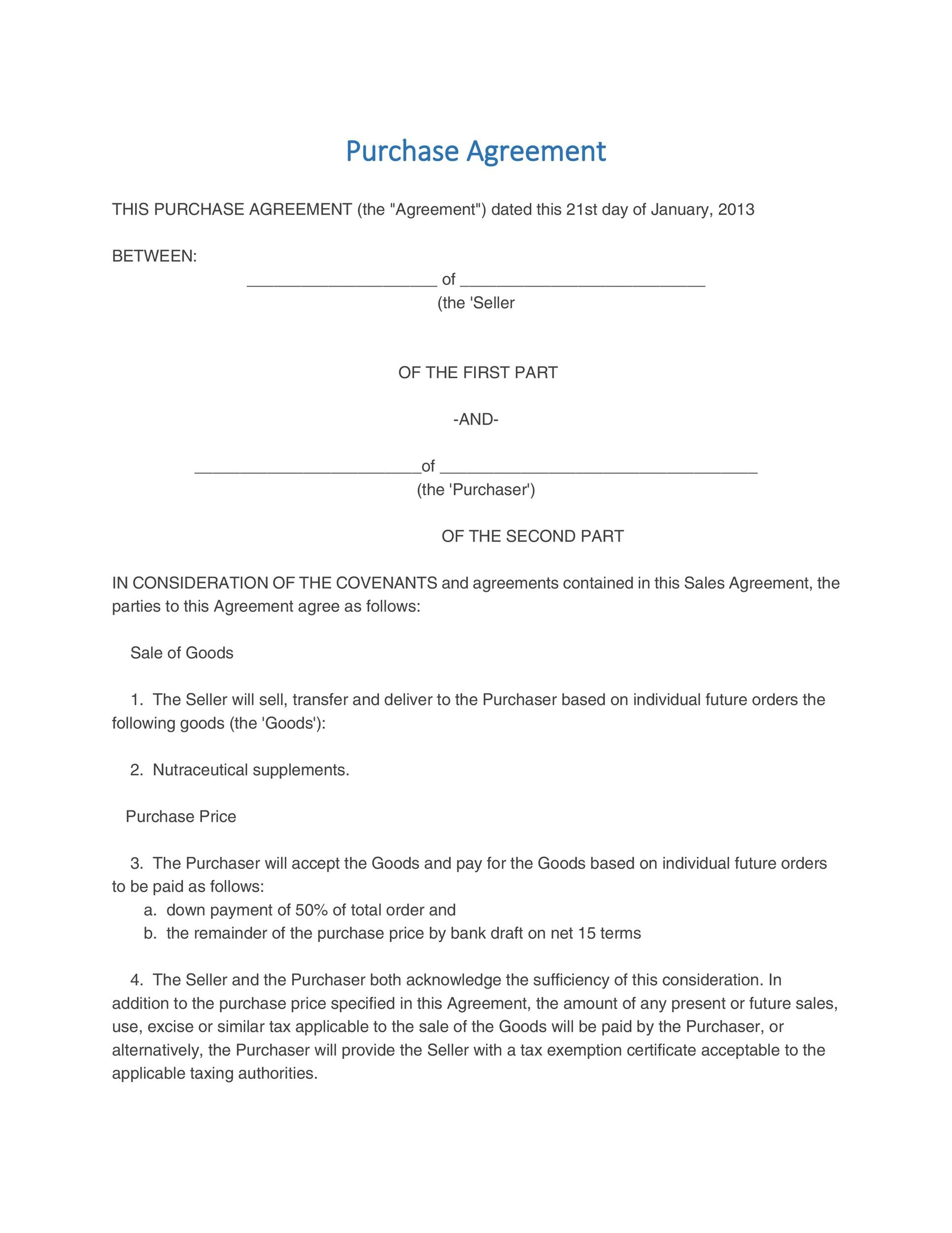 Printable Purchase Agreement Template 03  Property Purchase Agreement Template