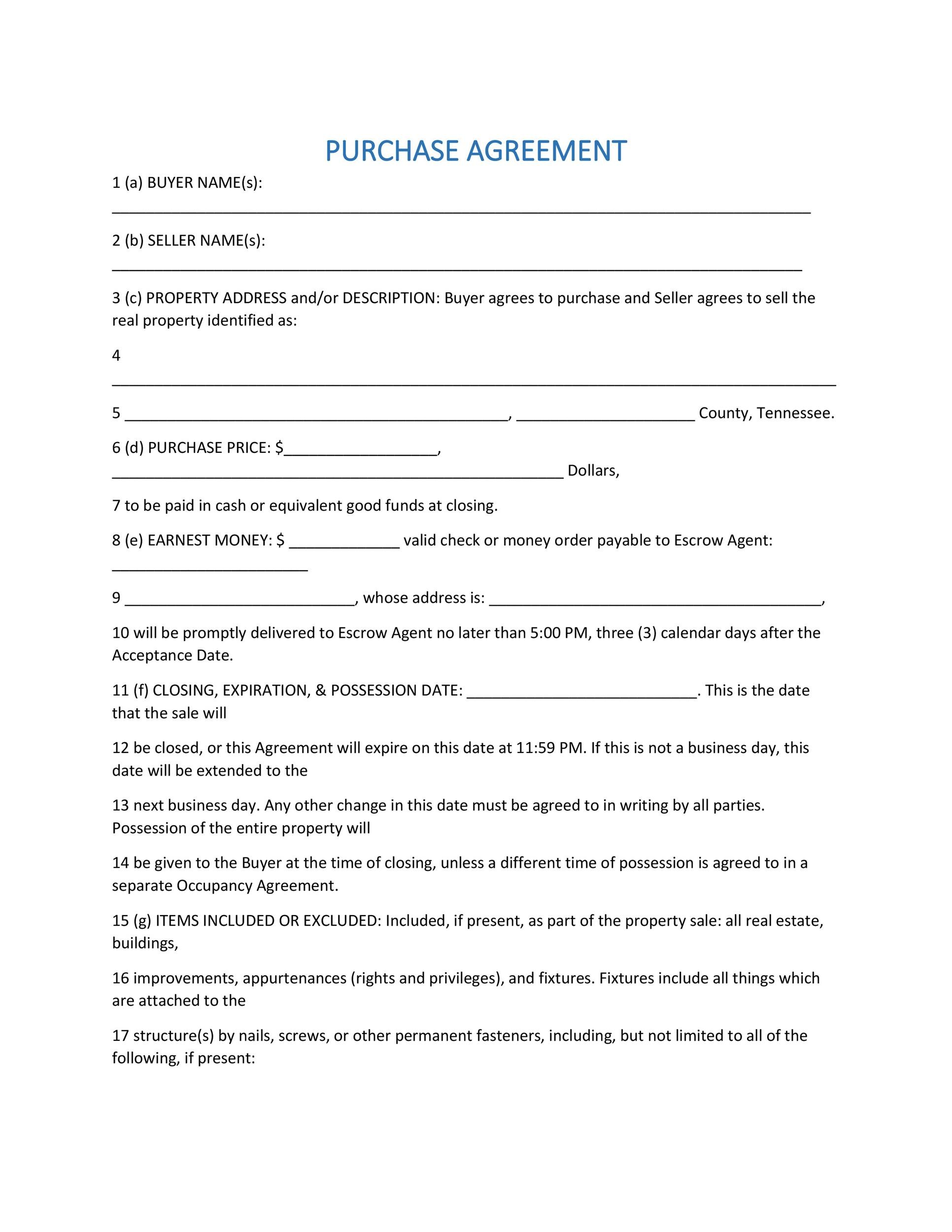 Simple Purchase Agreement Templates Real Estate Business - Simple business agreement template