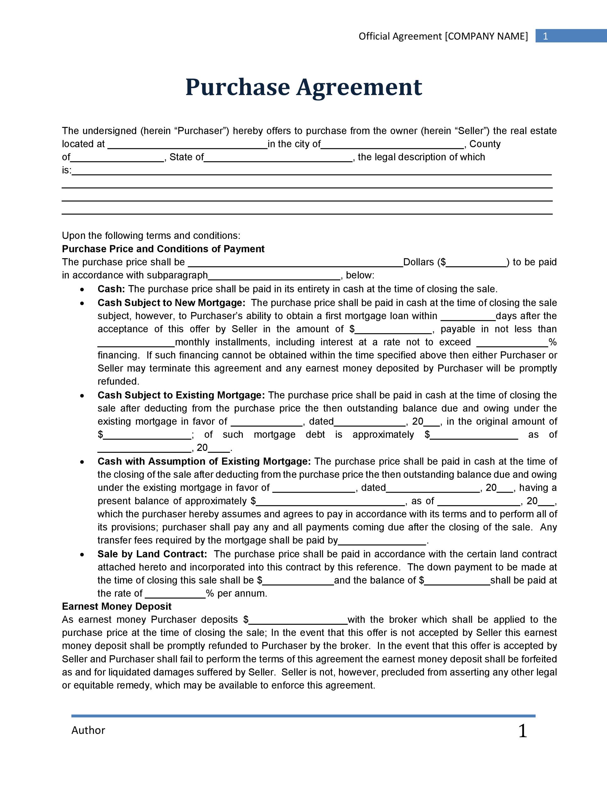 Free Purchase Agreement Template 05