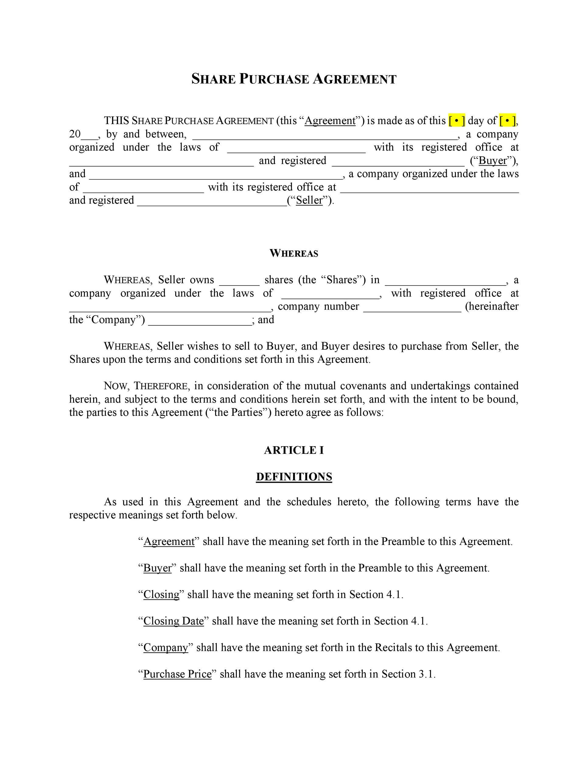 Printable Purchase Agreement Template 08  Purchase Agreement Template