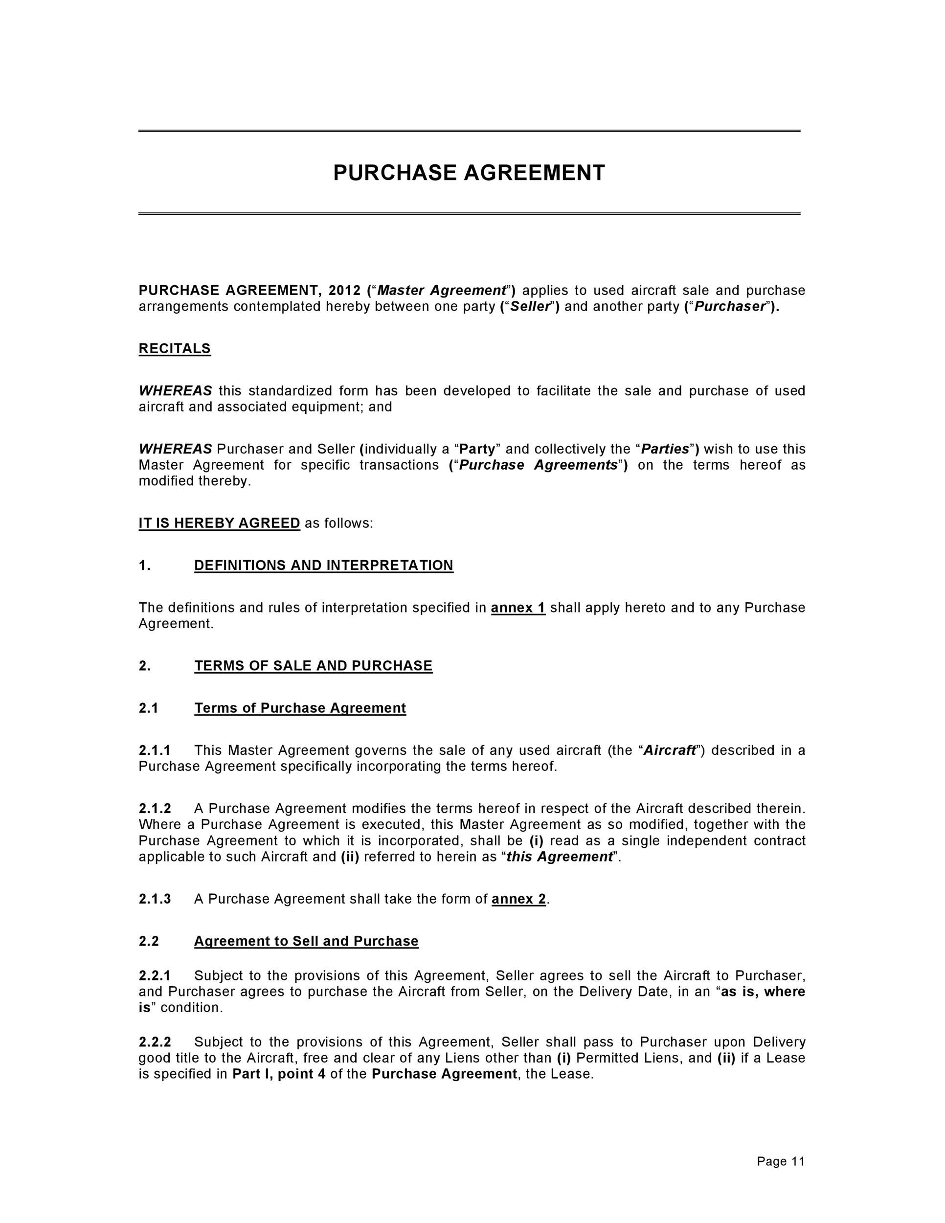 Business Agreement Form Purchase Agreement Template   Simple