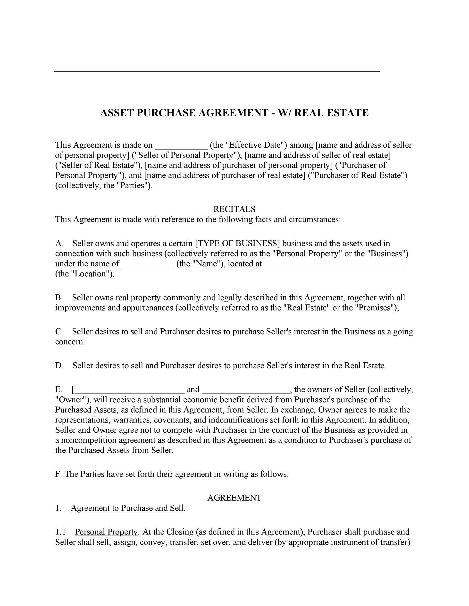 37 Simple Purchase Agreement Templates Real Estate Business – Real Estate Contract Template