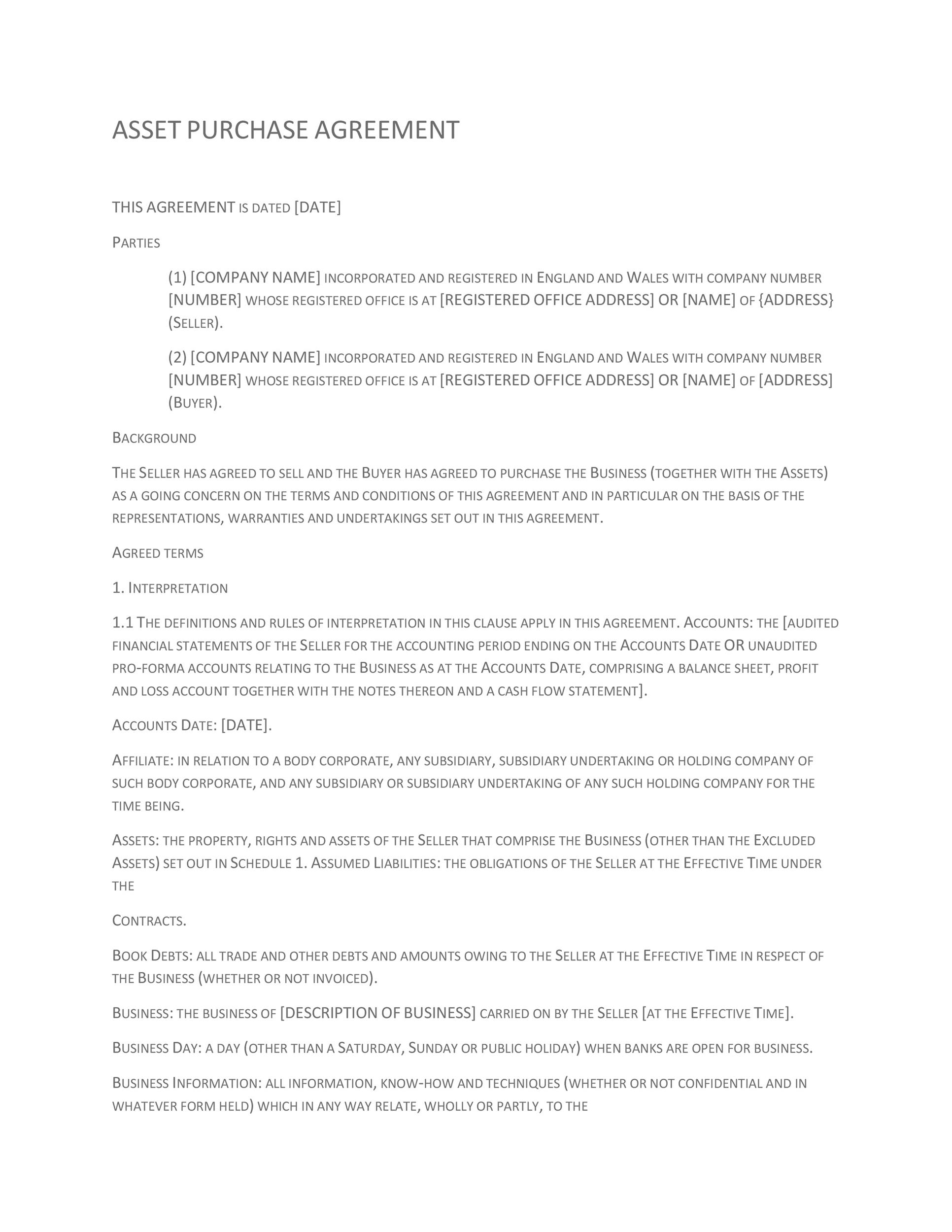 Printable Purchase Agreement Template 16  Property Purchase Agreement Template