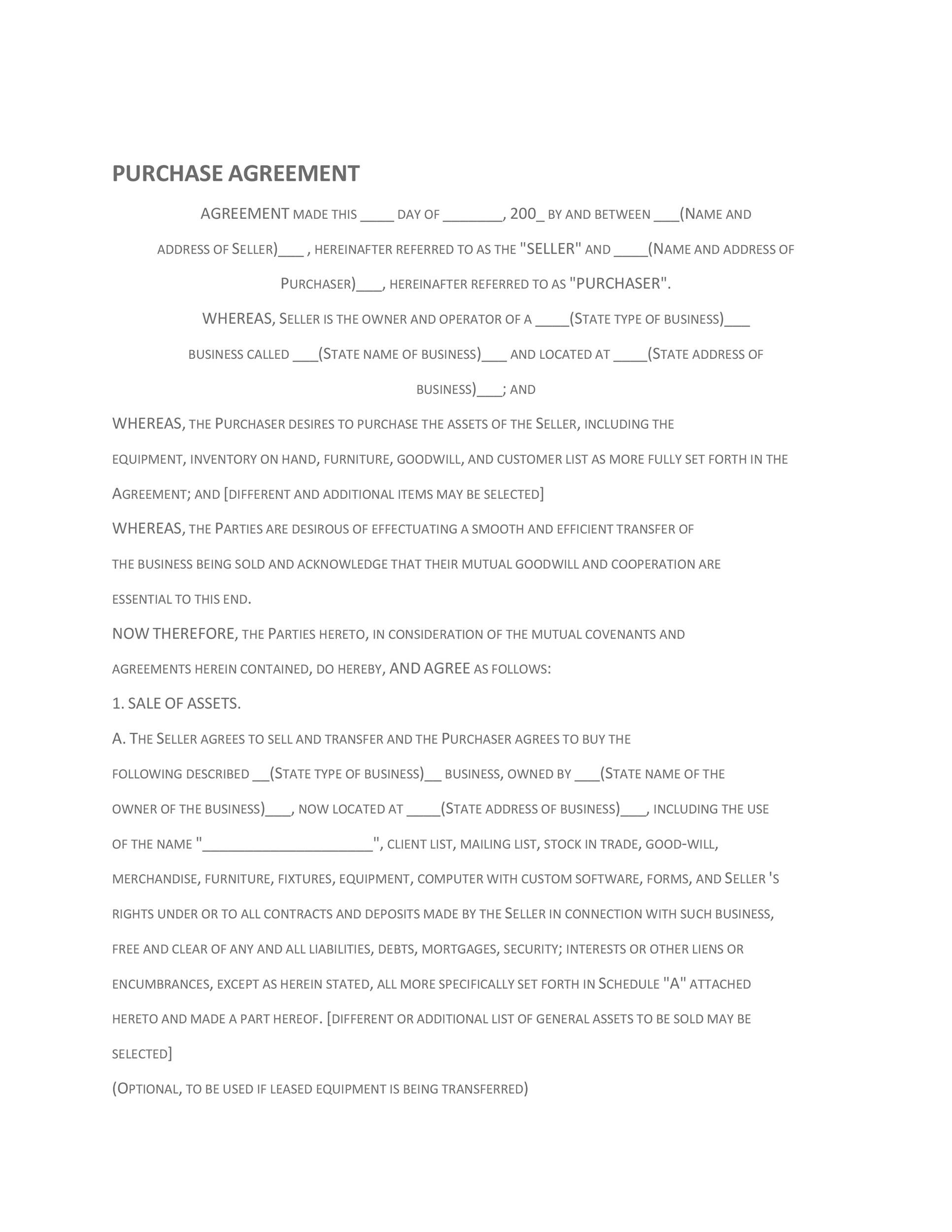 Sale Of Business Agreement Agreement For The Purchase Sale Of