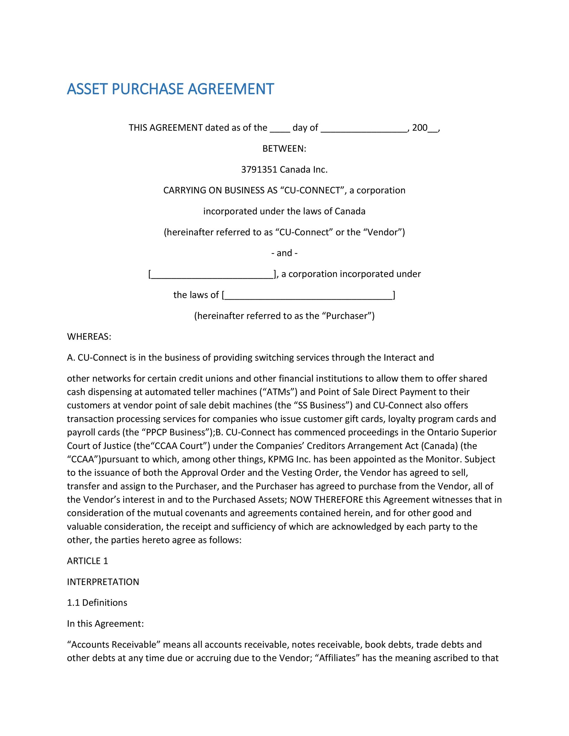 Free Purchase Agreement Template 18