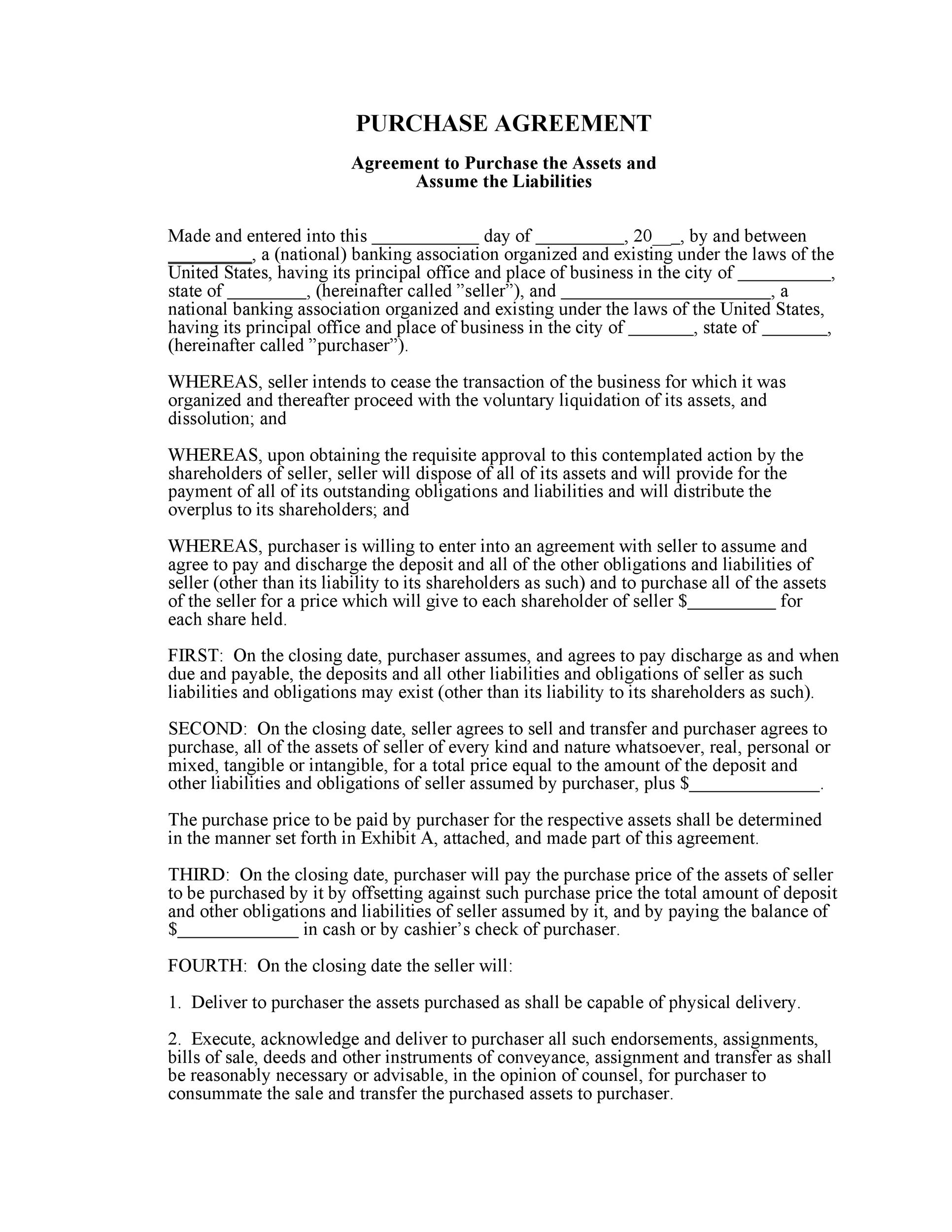 Free Purchase Agreement Template 20