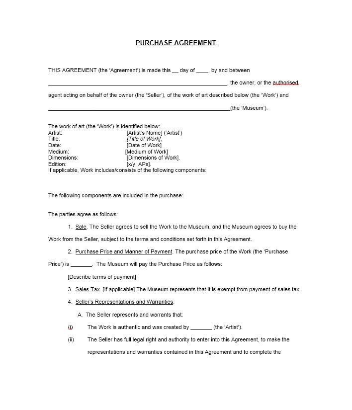 Simple Purchase Agreement Templates Real Estate Business