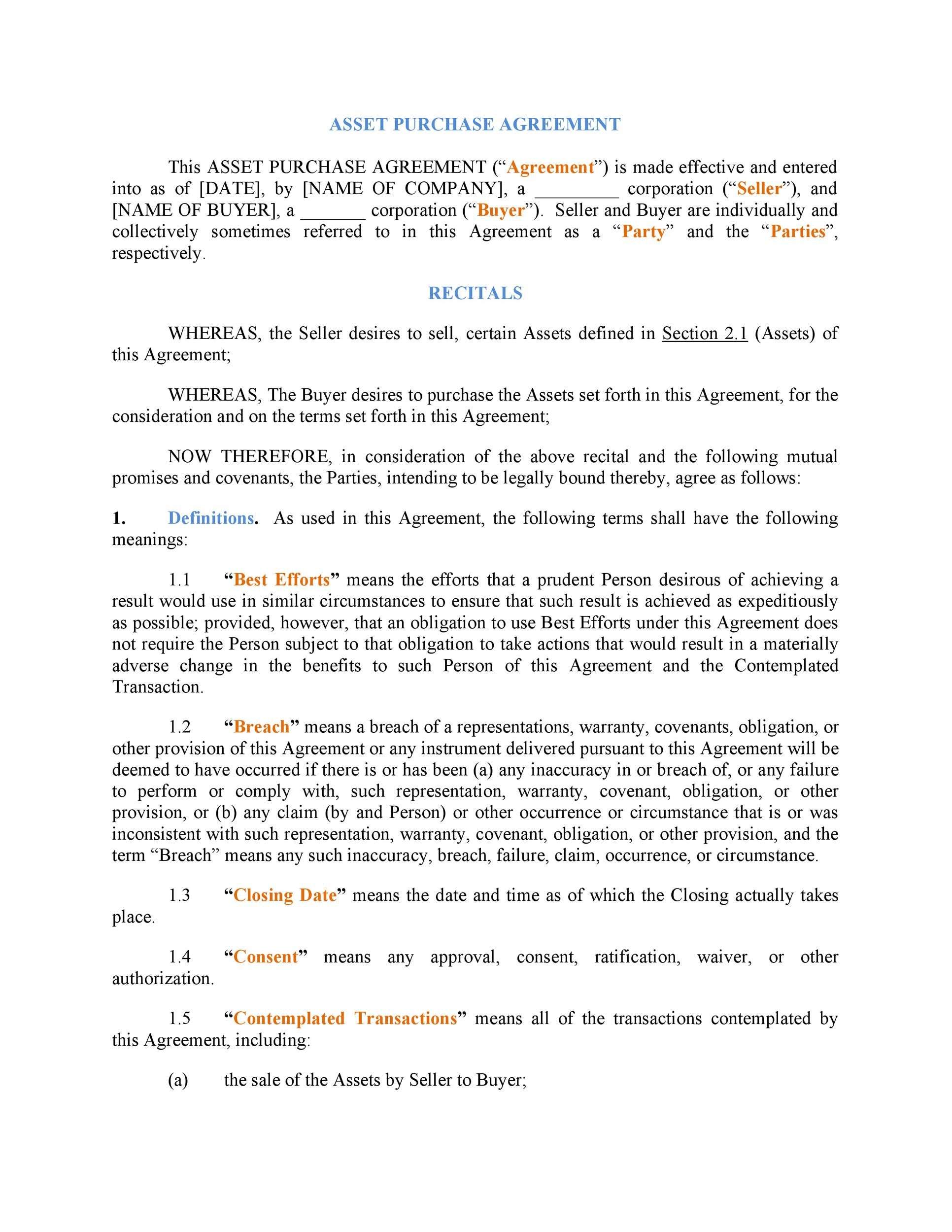 Printable Purchase Agreement Template 26