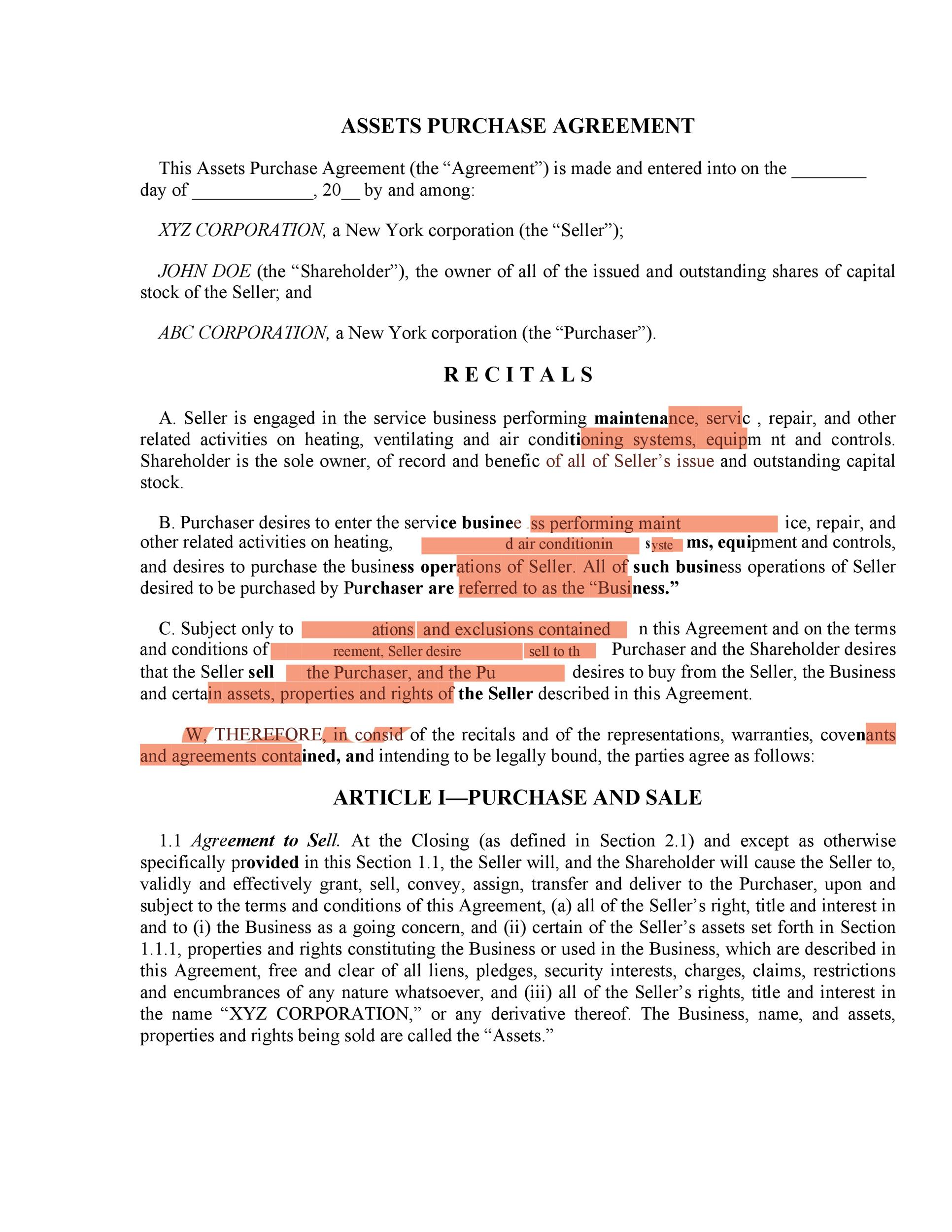 Printable Purchase Agreement Template 28