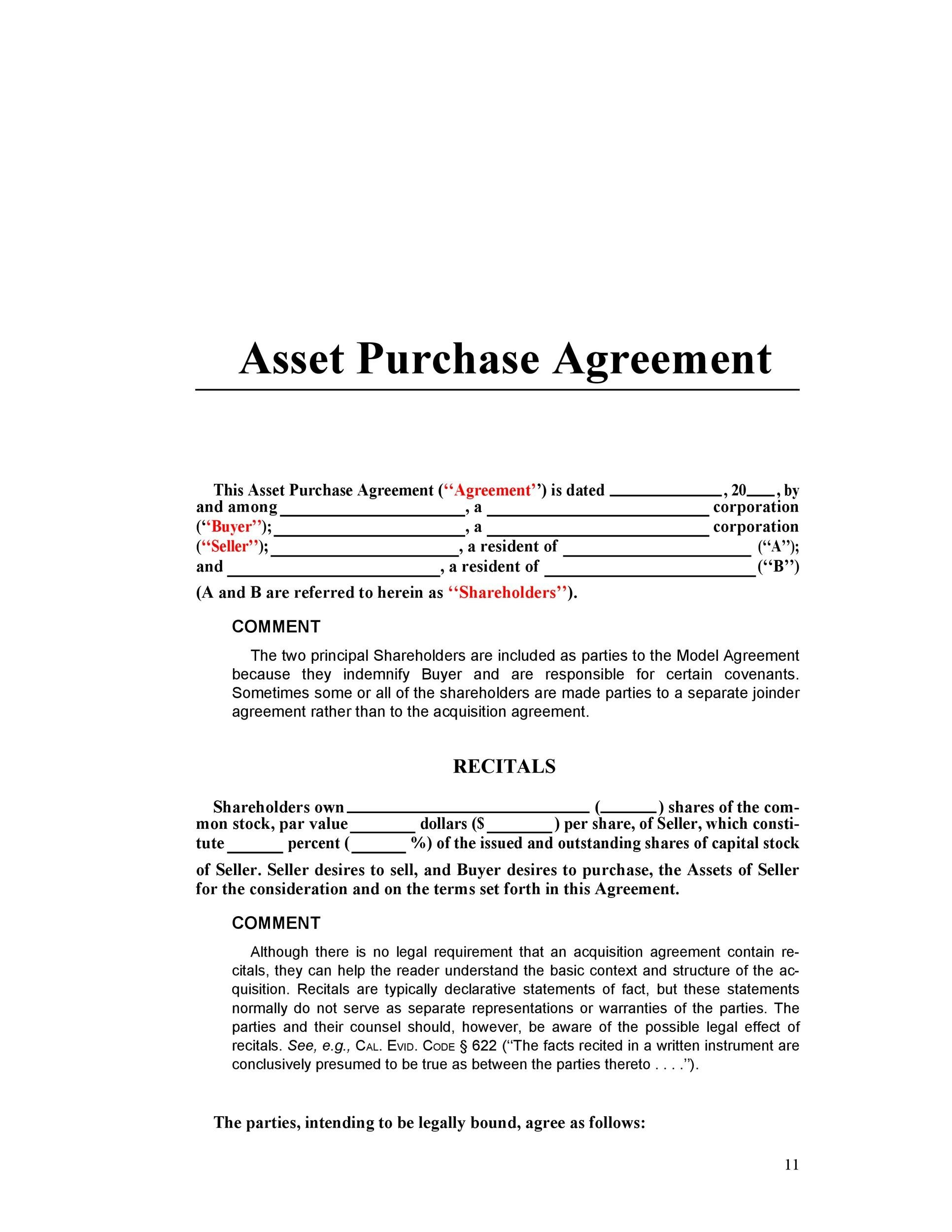 Sample asset purchase agreement purchase agreement template 12 37 simple purchase agreement templates real estate business pronofoot35fo Choice Image