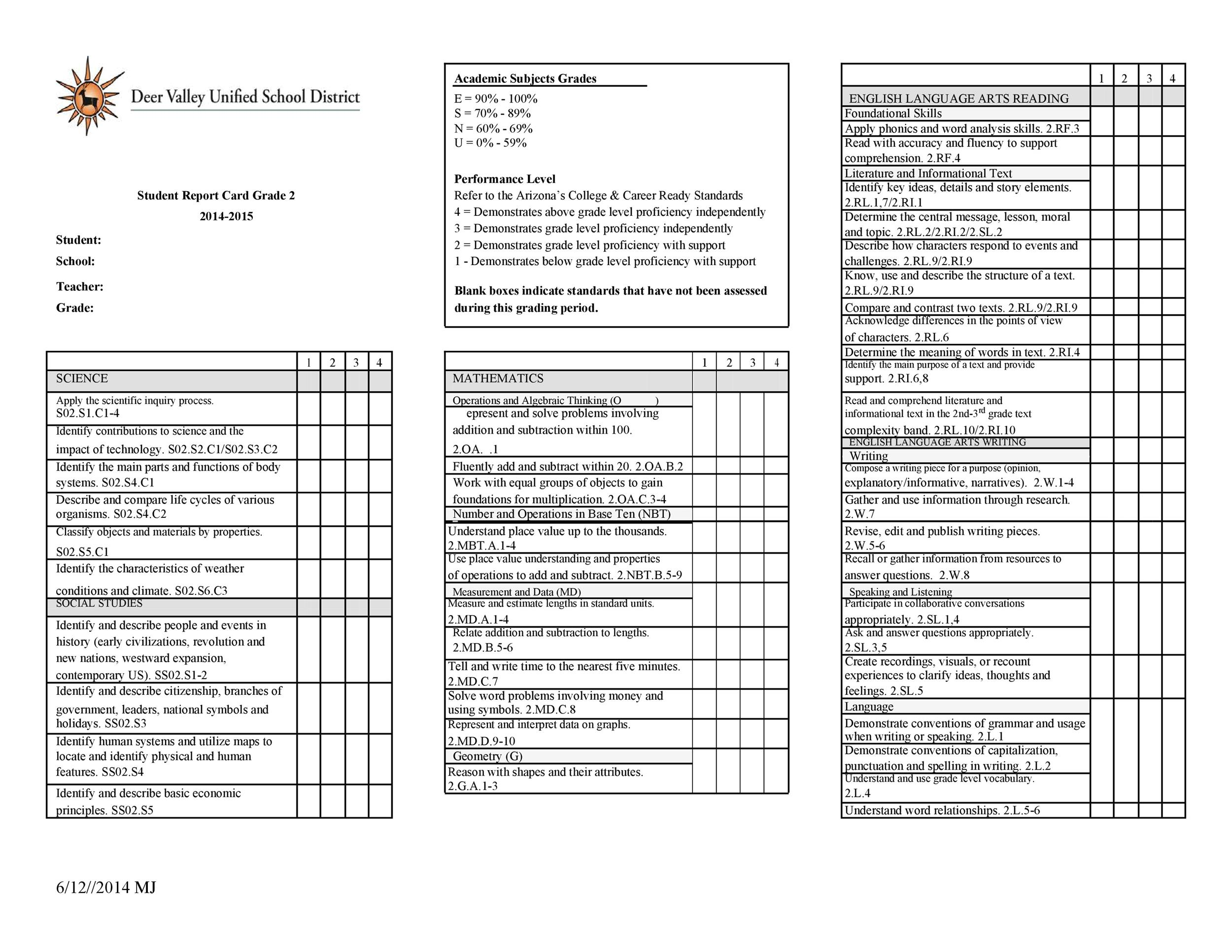Free Report Card Template 04