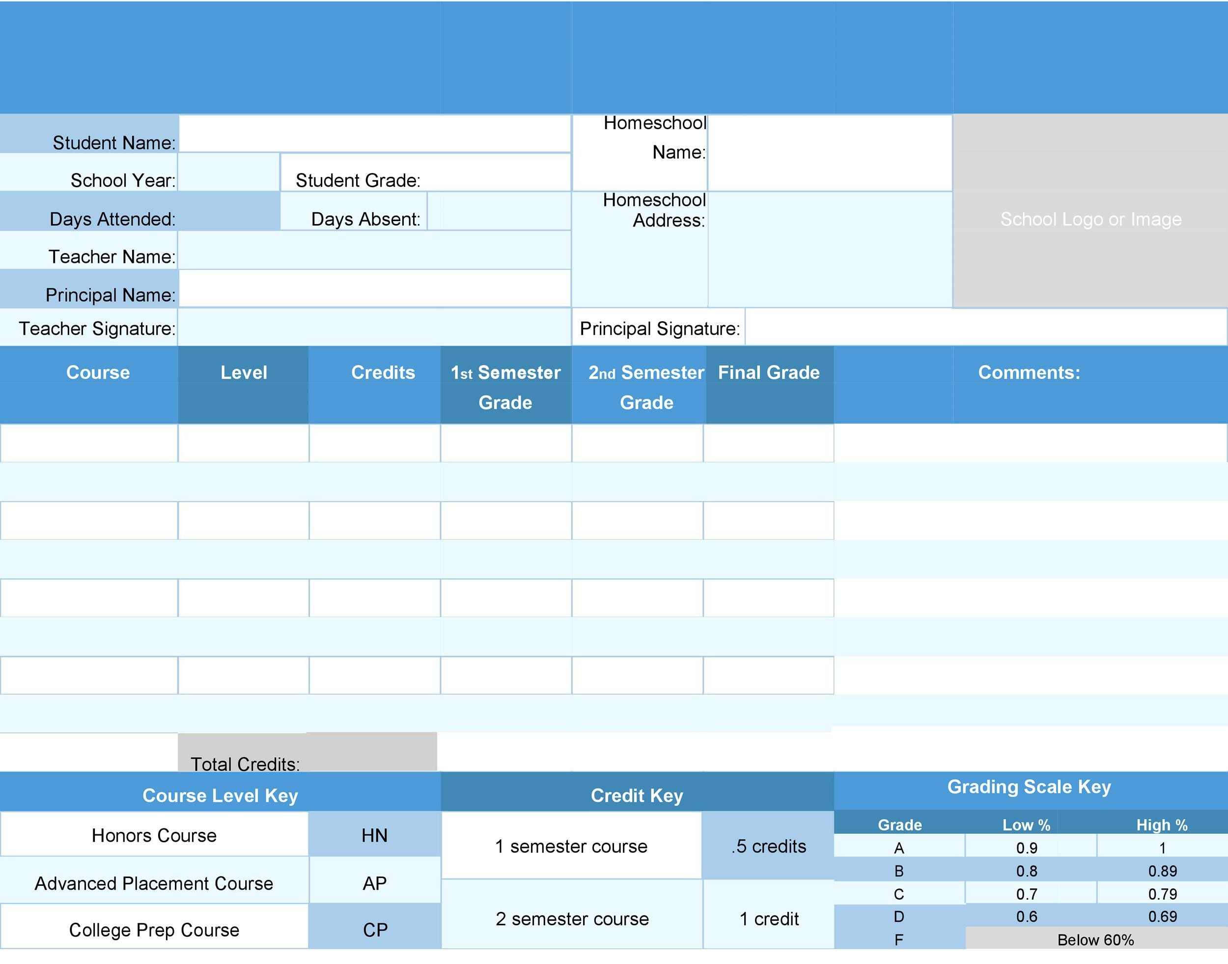 Free Report Card Template 05