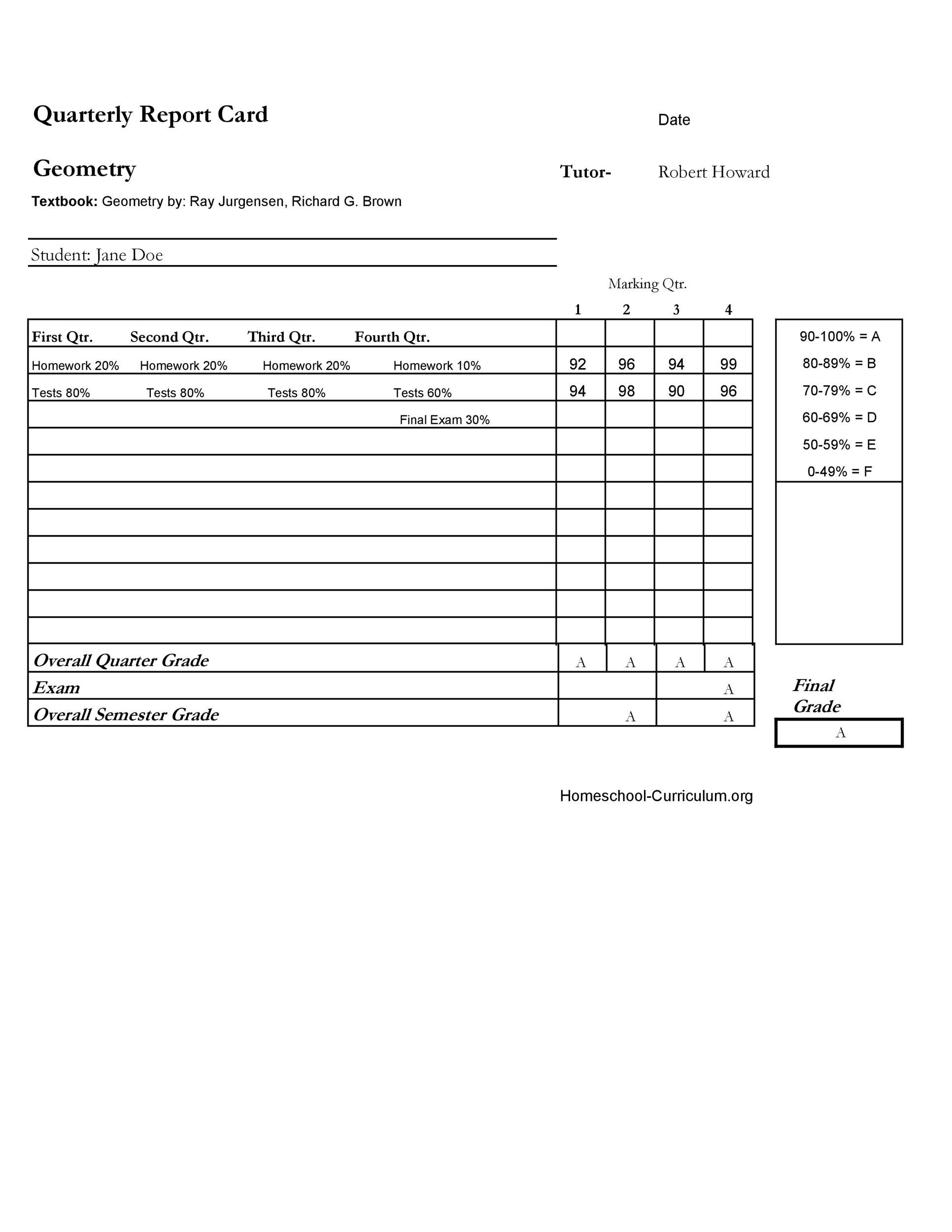 Free Report Card Template 06