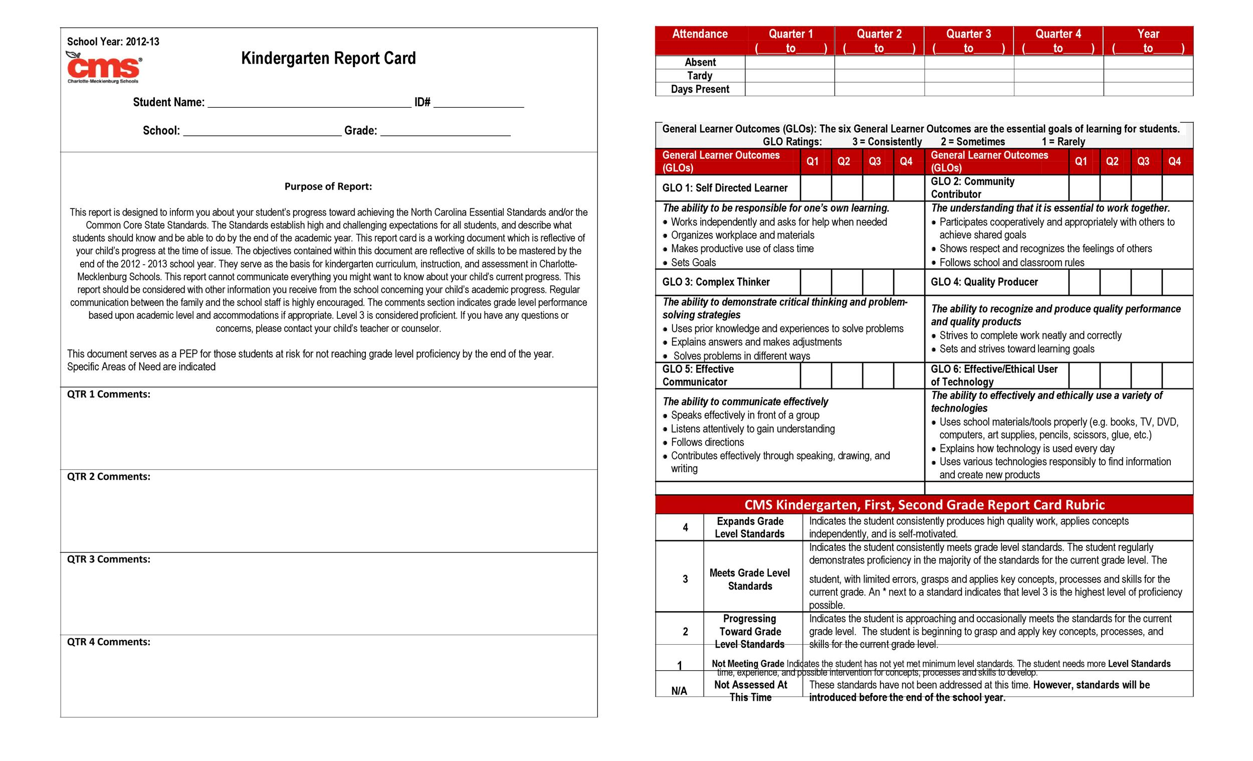 Free Report Card Template 10