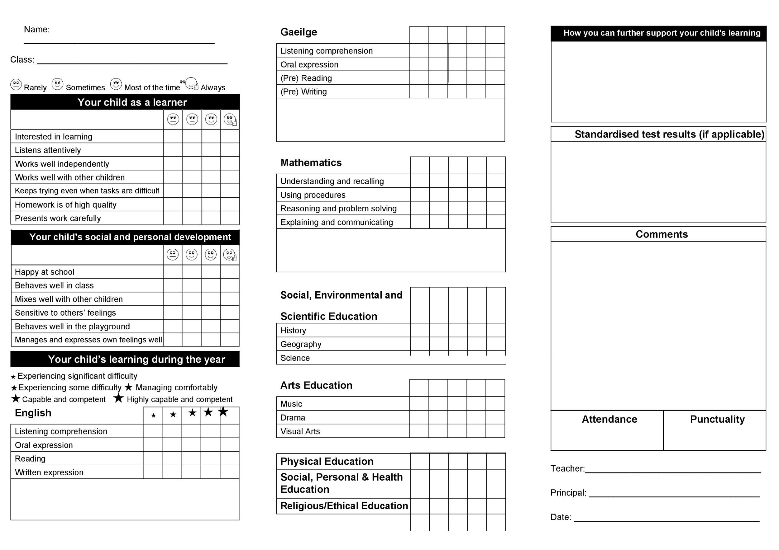 Printable Report Card Template 11